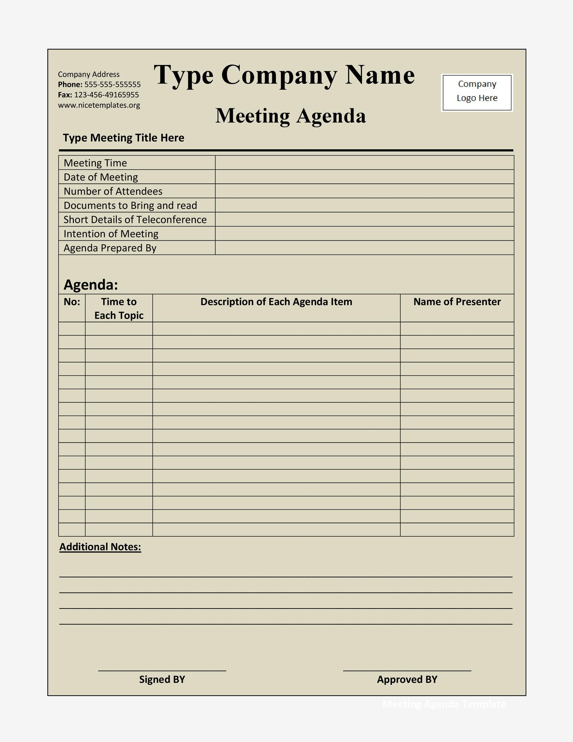 Free Meeting Agenda Template 06