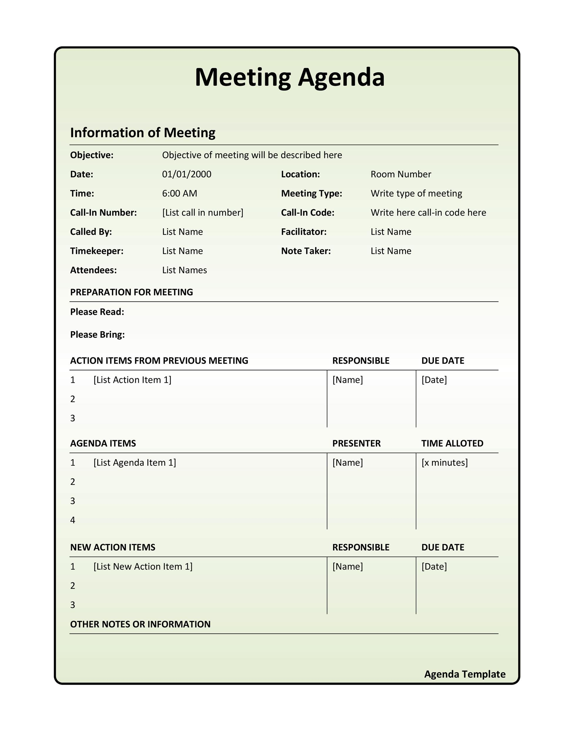 Meeting Agenda Template 07