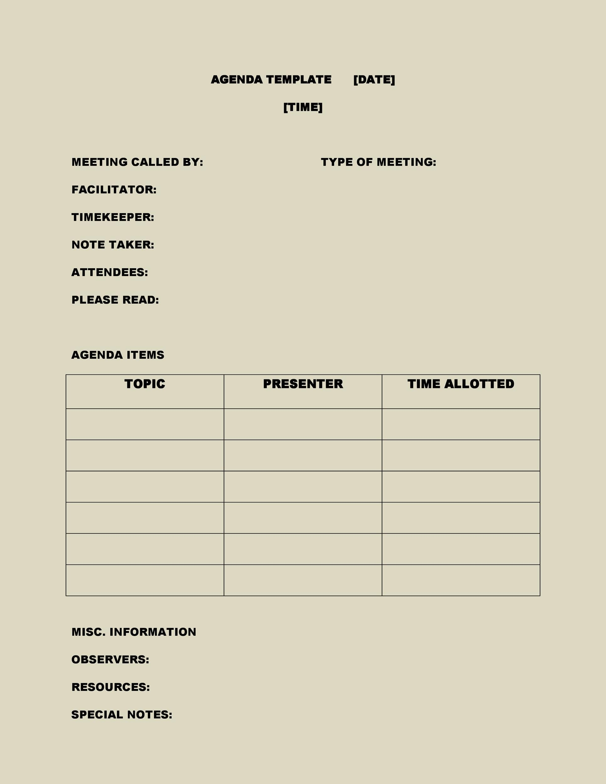 Meeting Agenda Template 08