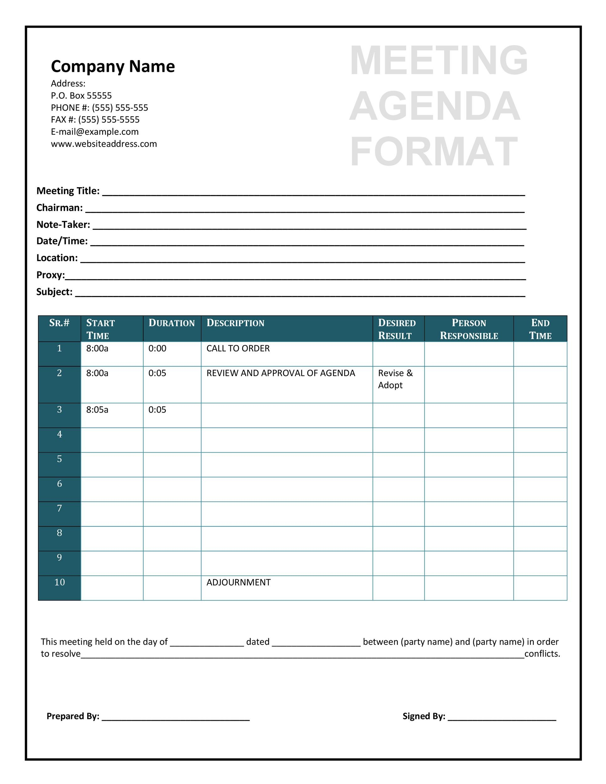 sample agenda form