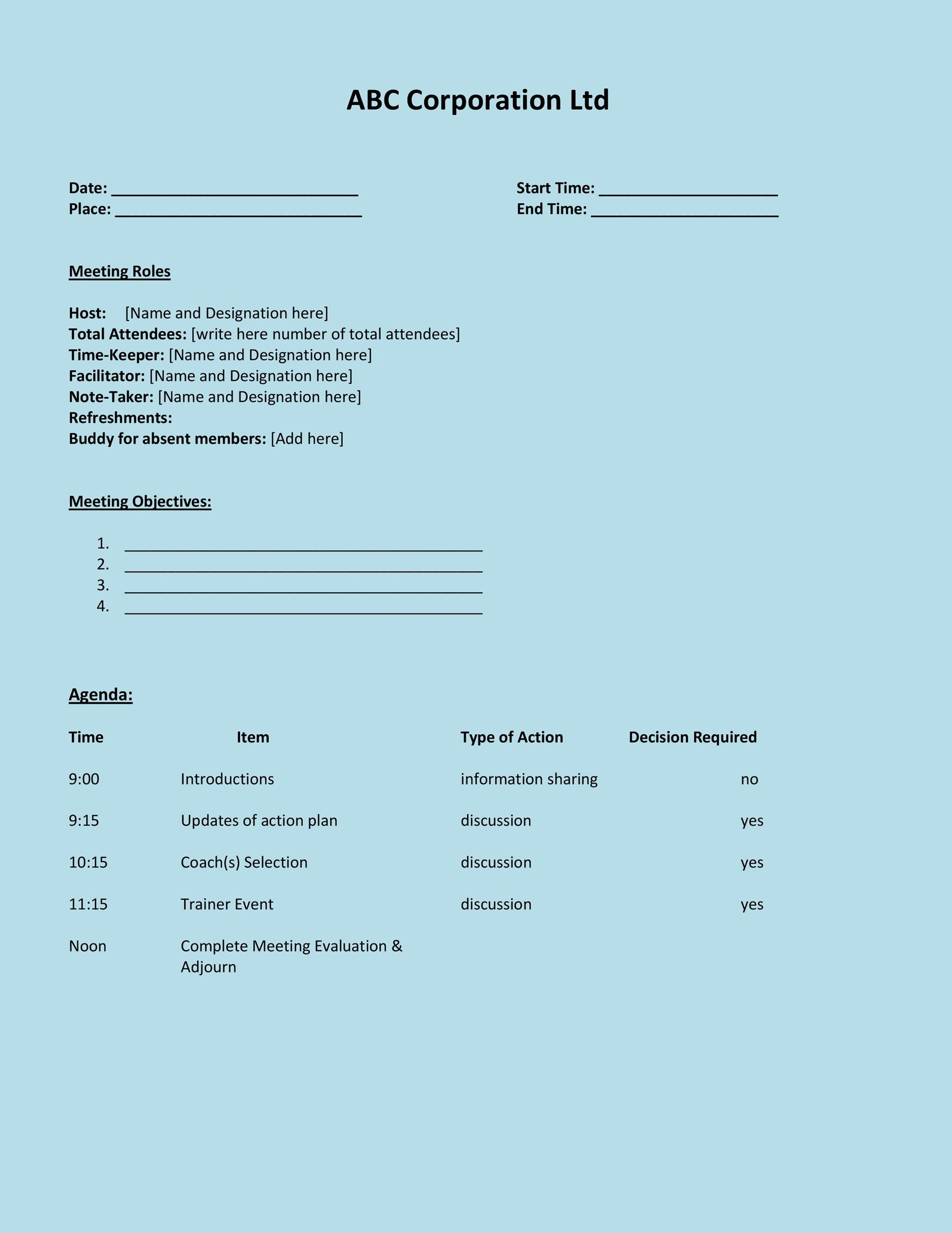Free Meeting Agenda Template 10