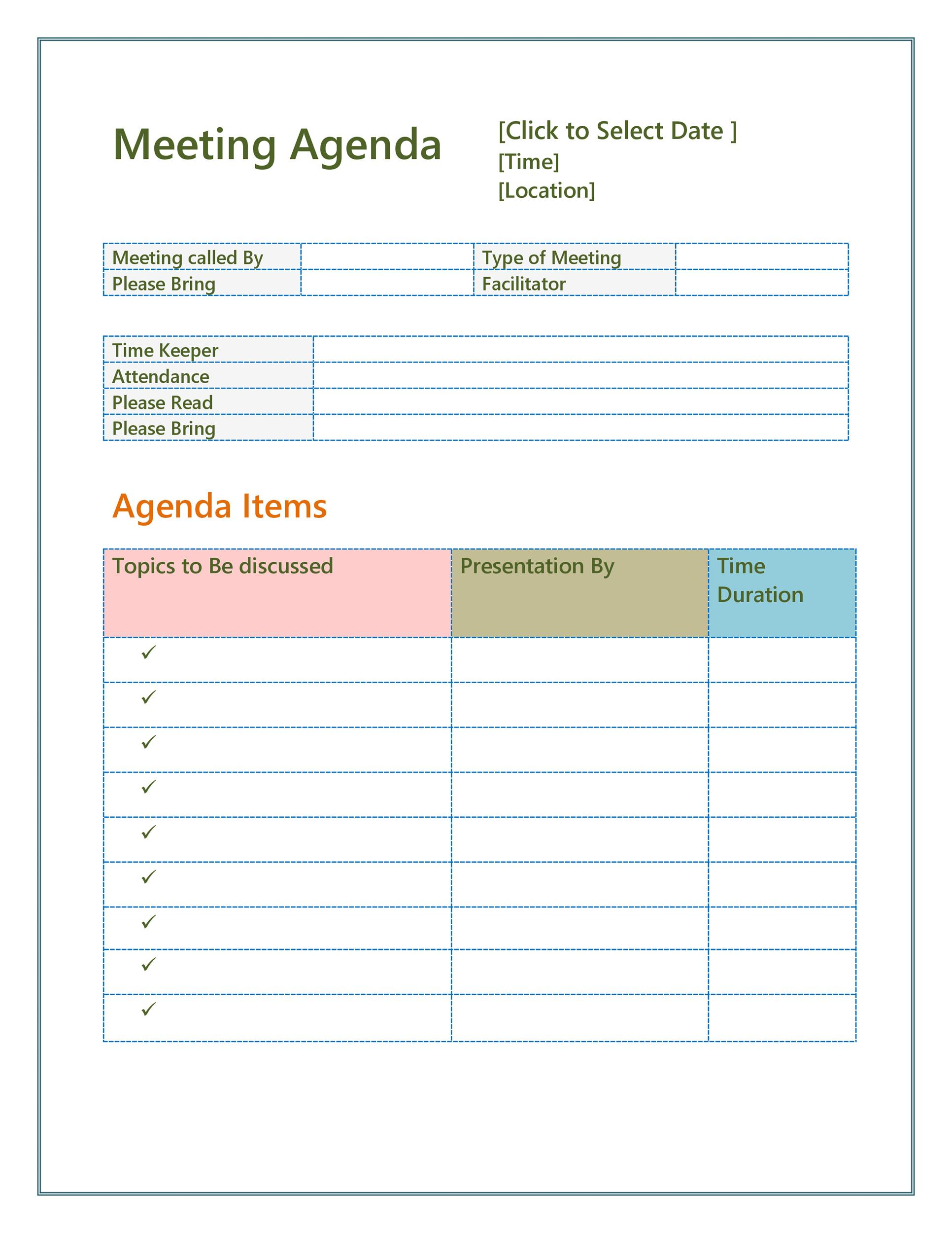 46 Effective Meeting Agenda Templates Template Lab – Meeting Templates Word
