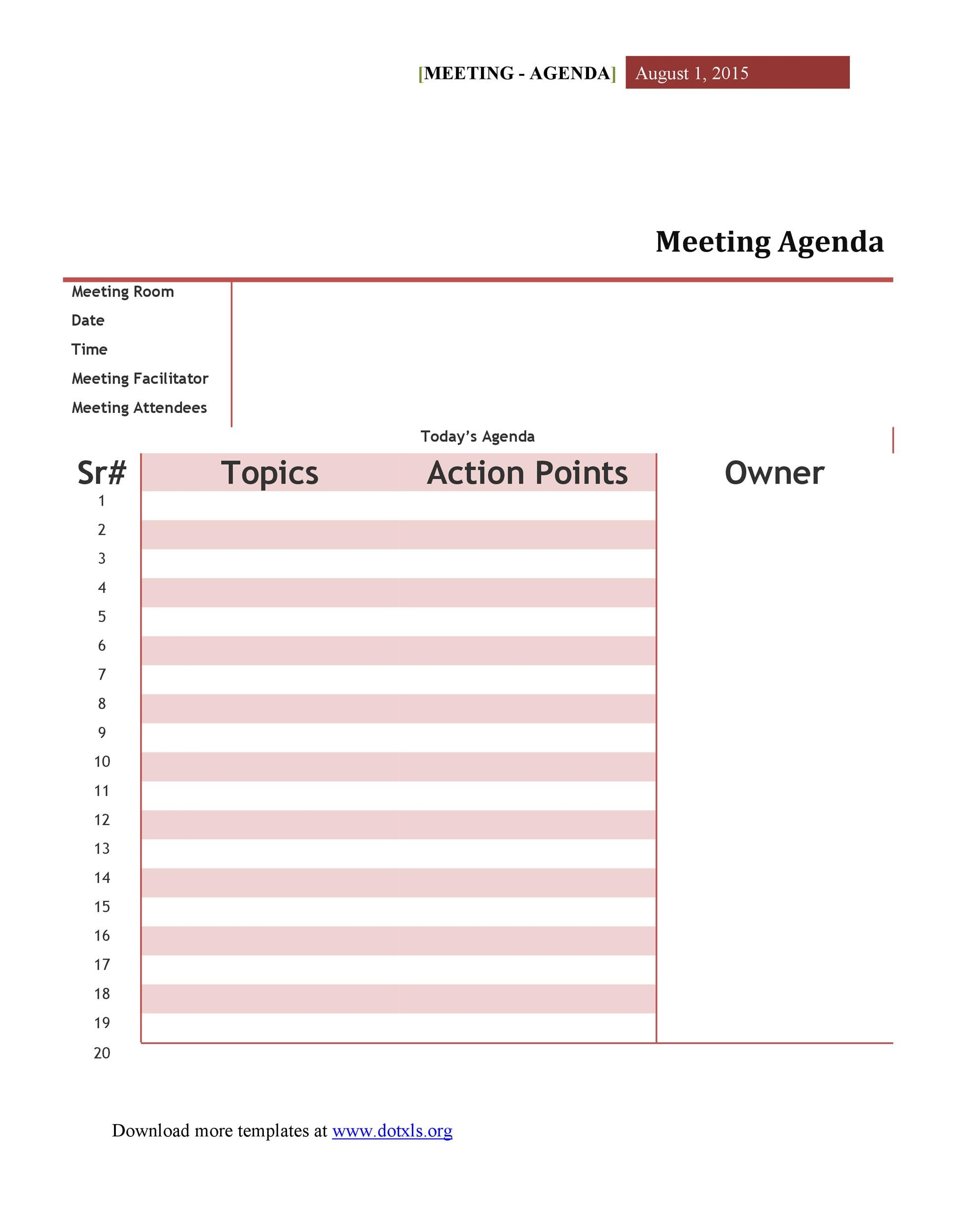 Printable Meeting Agenda Template 14  Microsoft Word Meeting Agenda Template