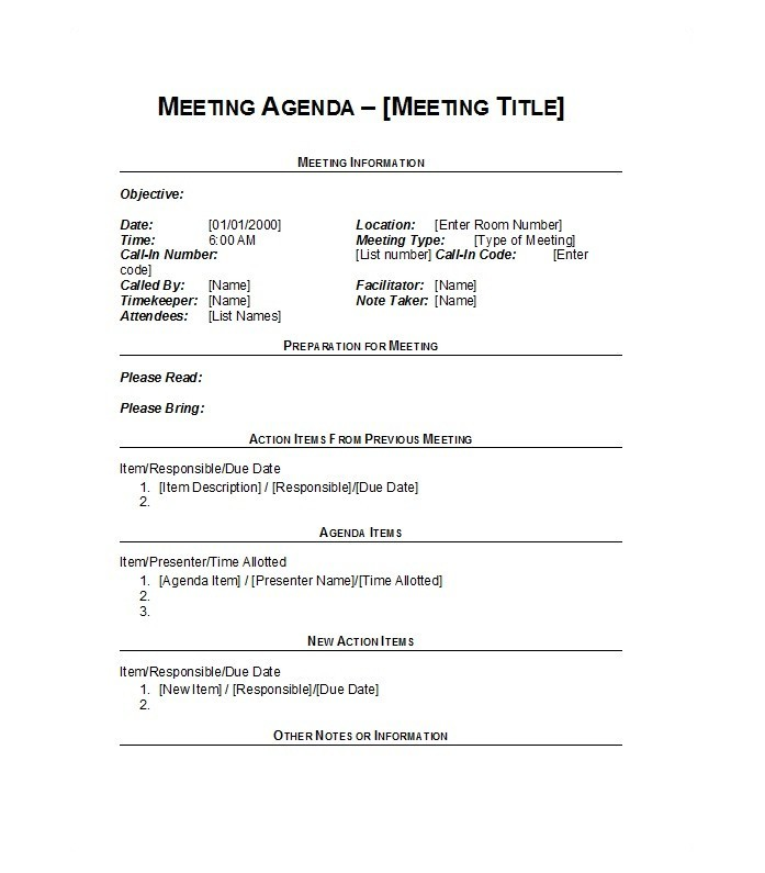 Printable Meeting Agenda Template 16  Formal Meeting Agenda Template