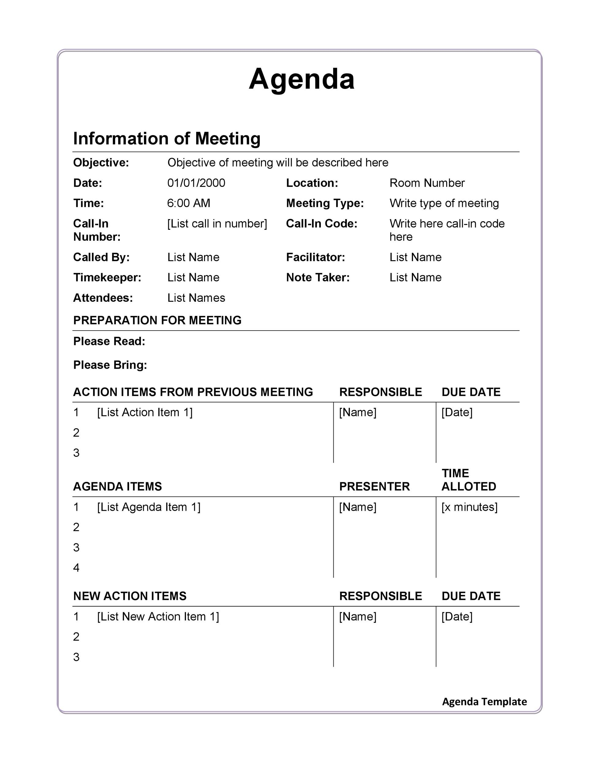 Free Meeting Agenda Template 19