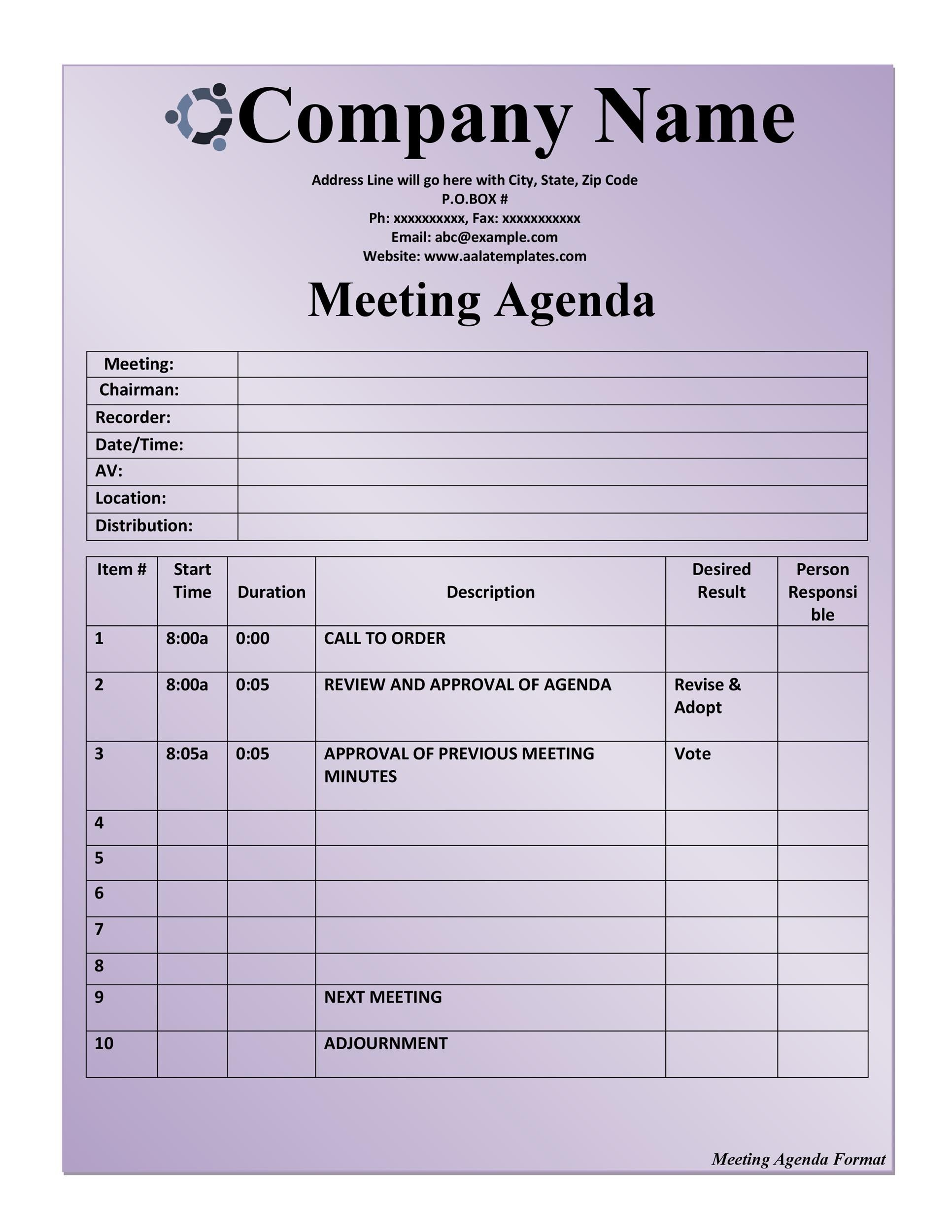 Printable Meeting Agenda Template 20  Agenda Examples Templates