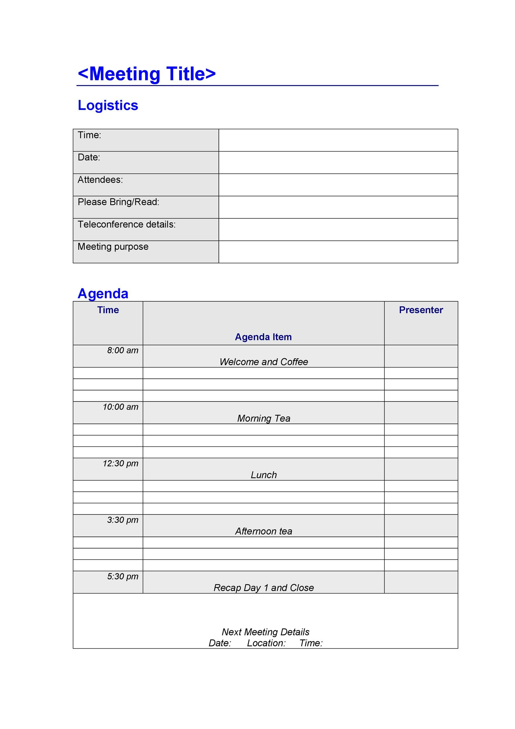 Attractive Printable Meeting Agenda Template 22  Agenda Examples Templates