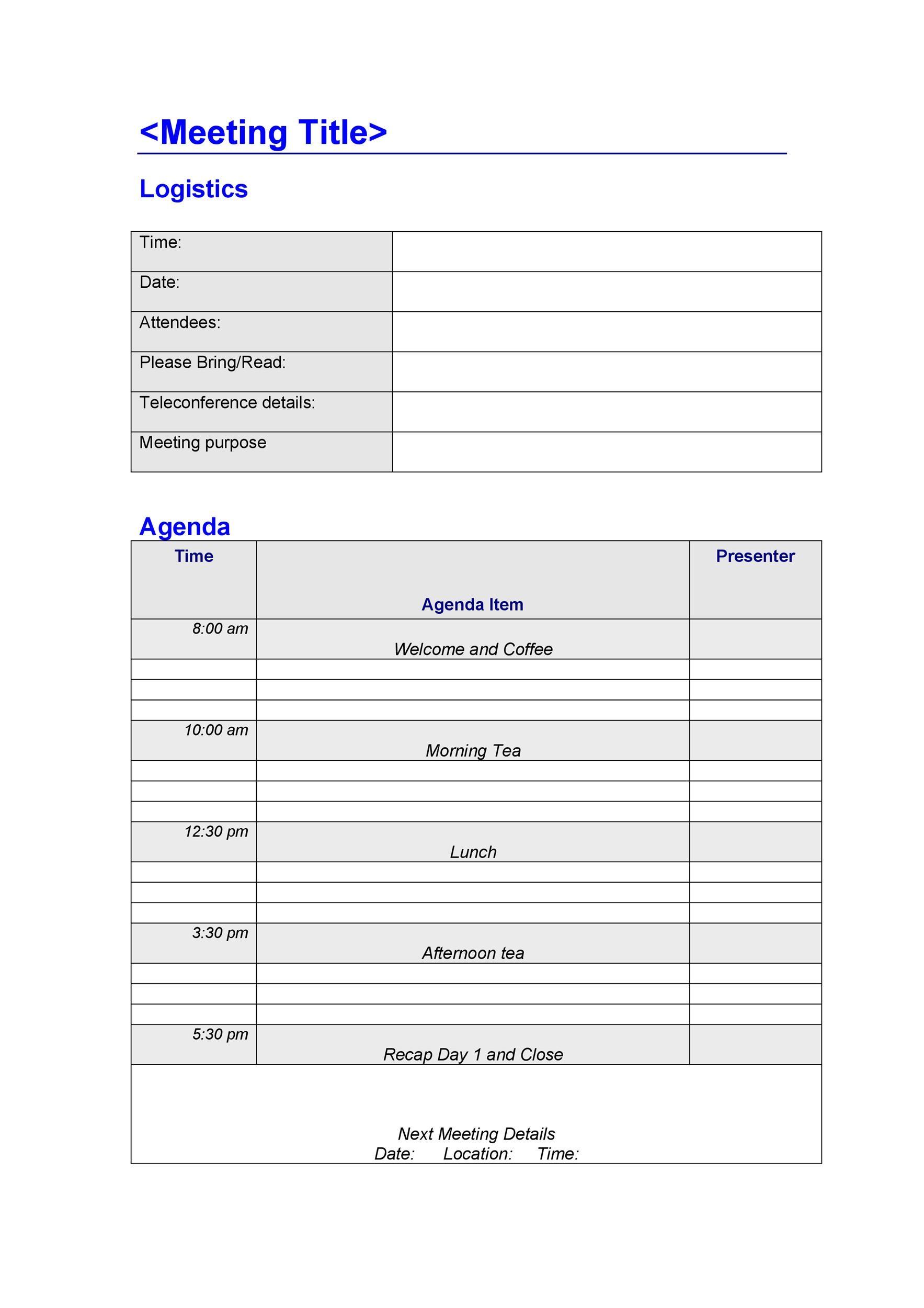 Free Meeting Agenda Template 22