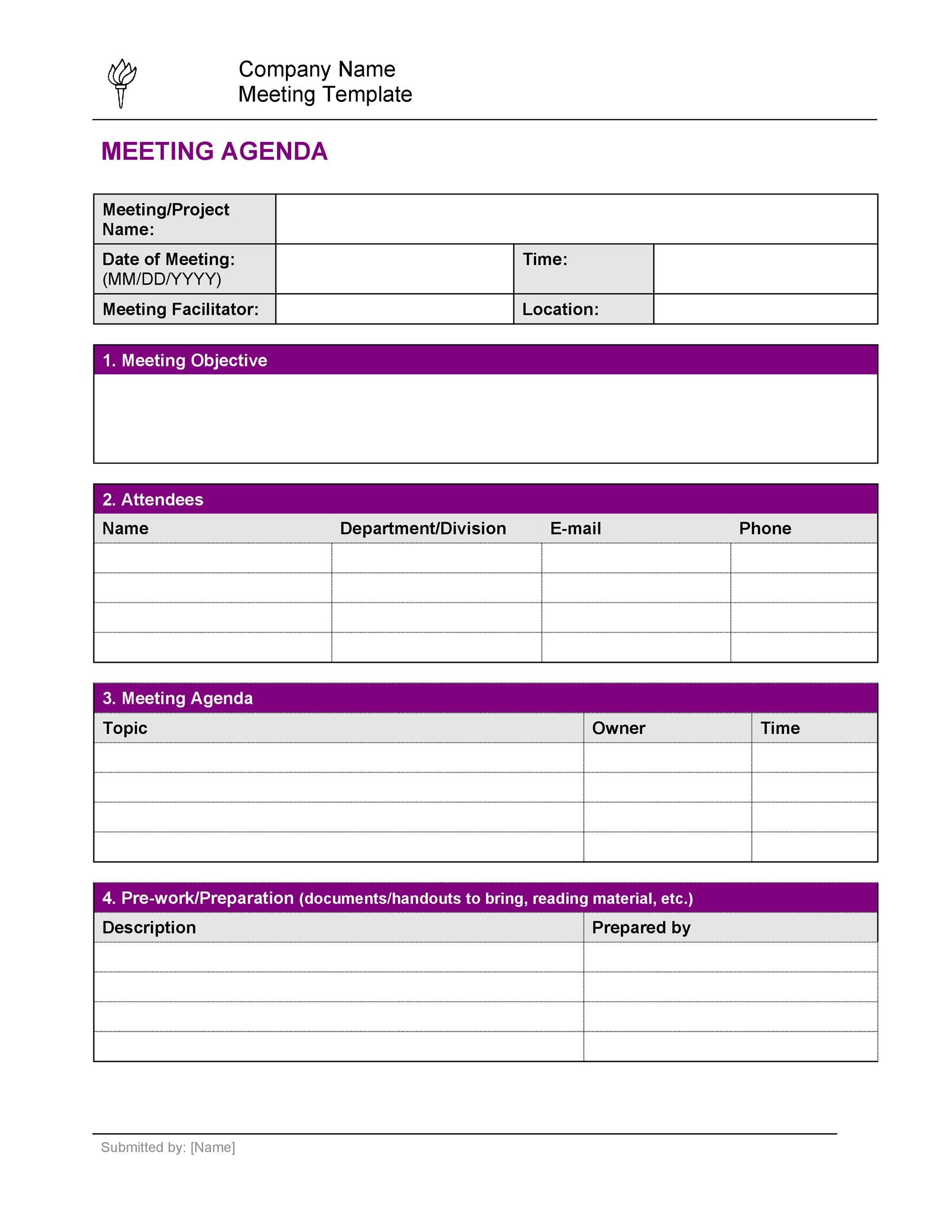 Free Meeting Agenda Template 25
