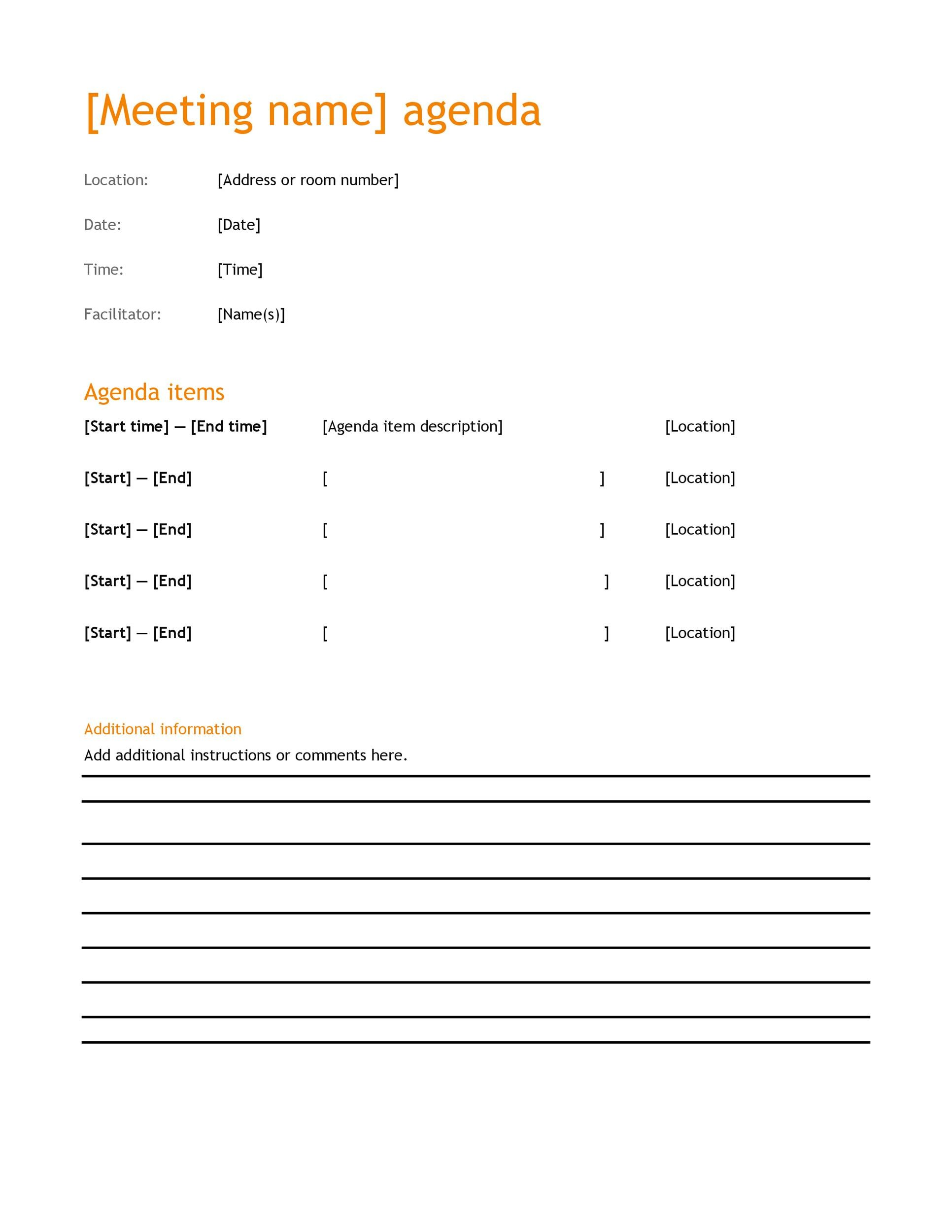 Free Meeting Agenda Template 26