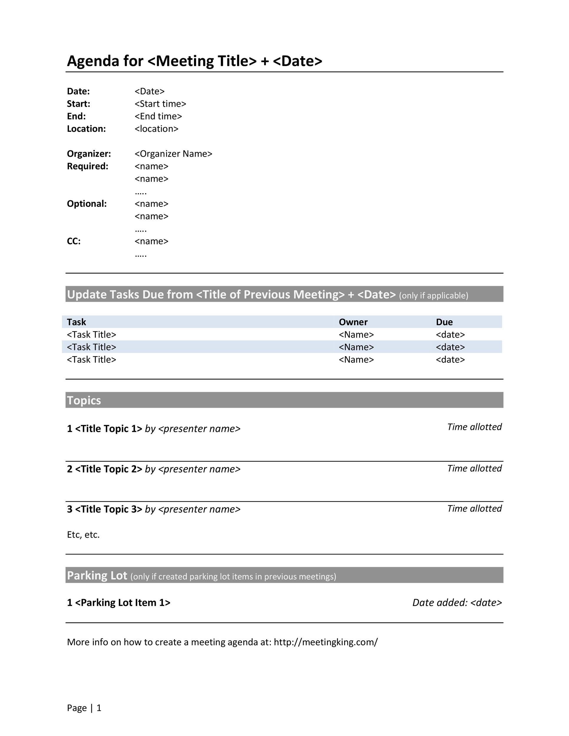 46 Effective Meeting Agenda Templates Template Lab – Meeting Agenda