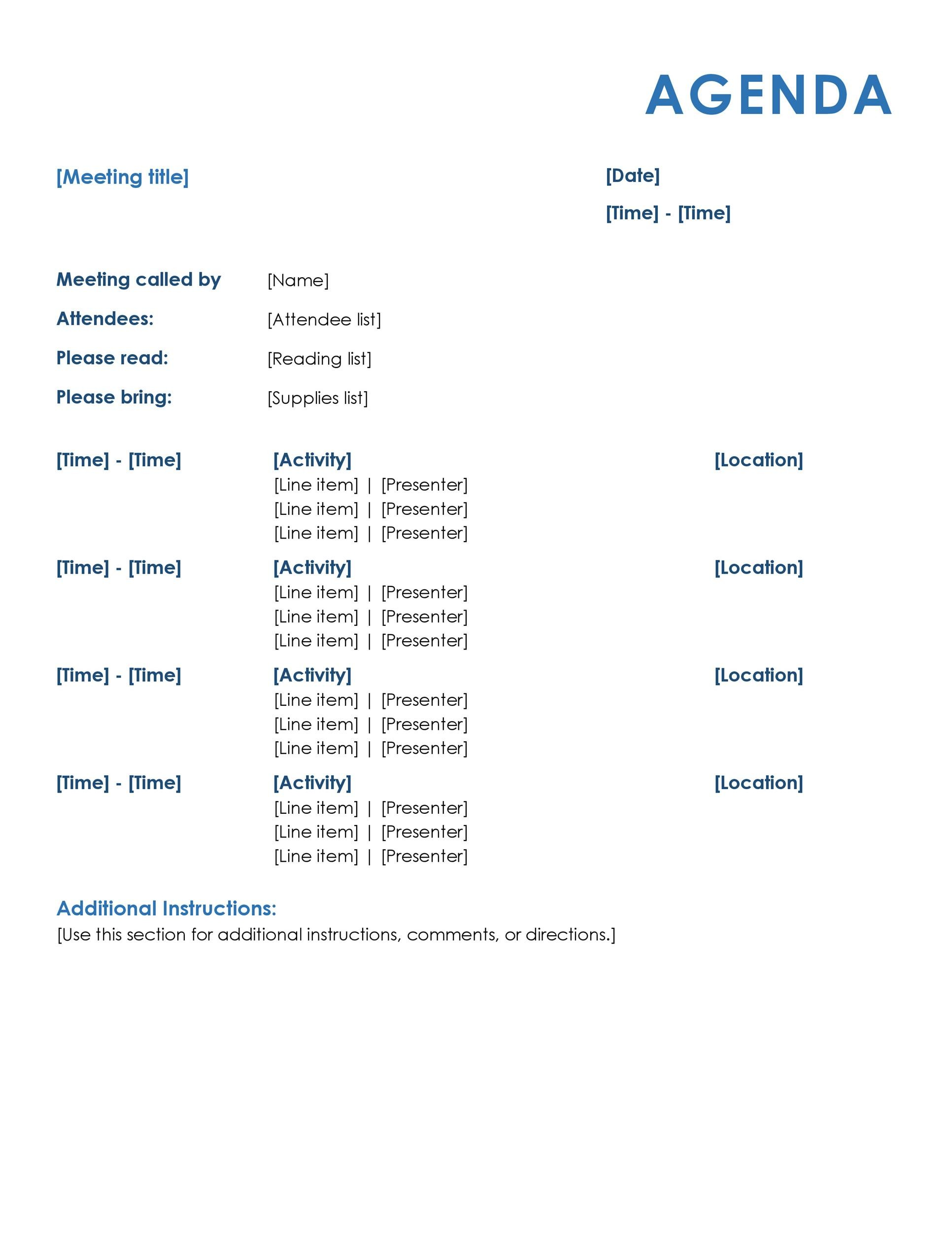 46 Effective Meeting Agenda Templates Template Lab – Sample Weekly Agenda