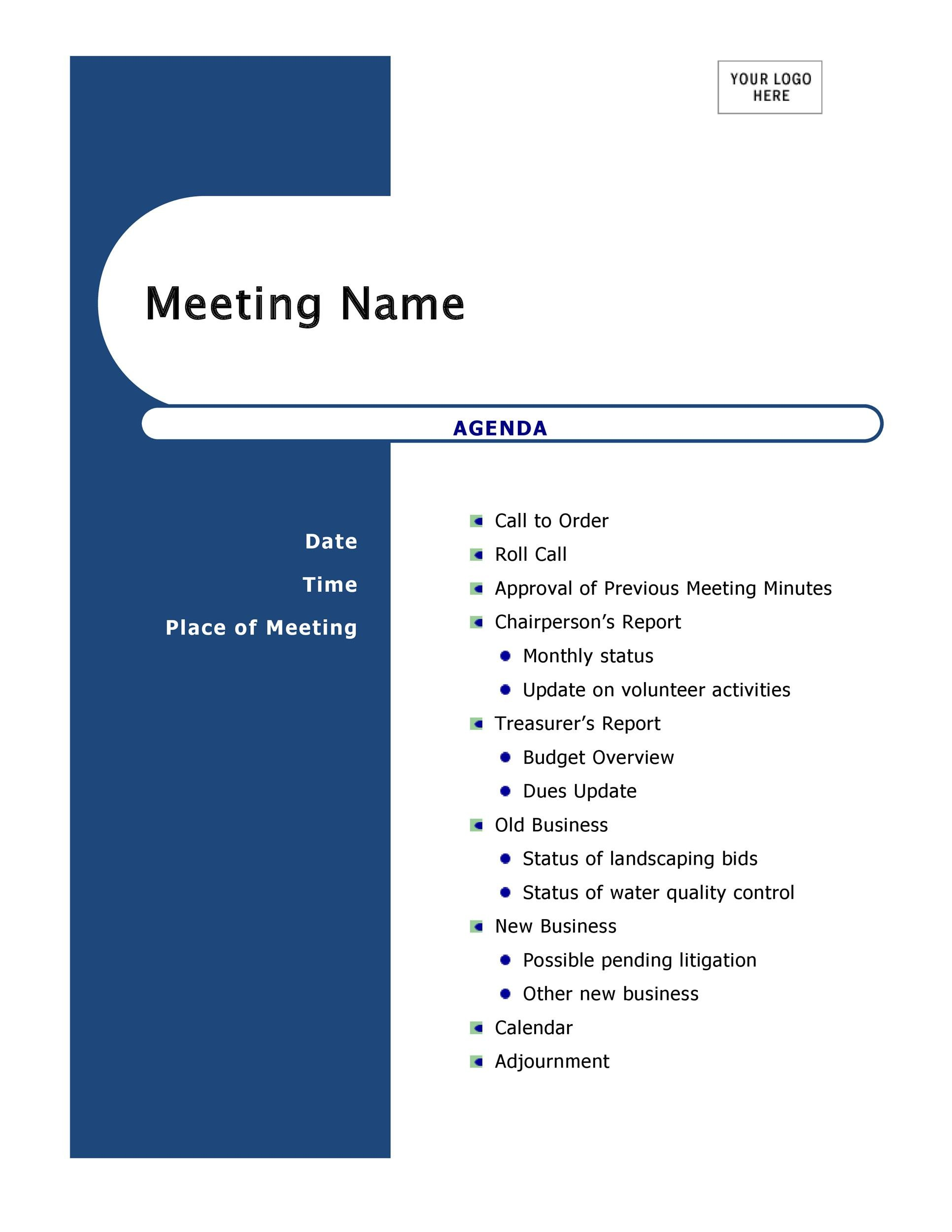 Printable Meeting Agenda Template 31  Agenda Layout Template