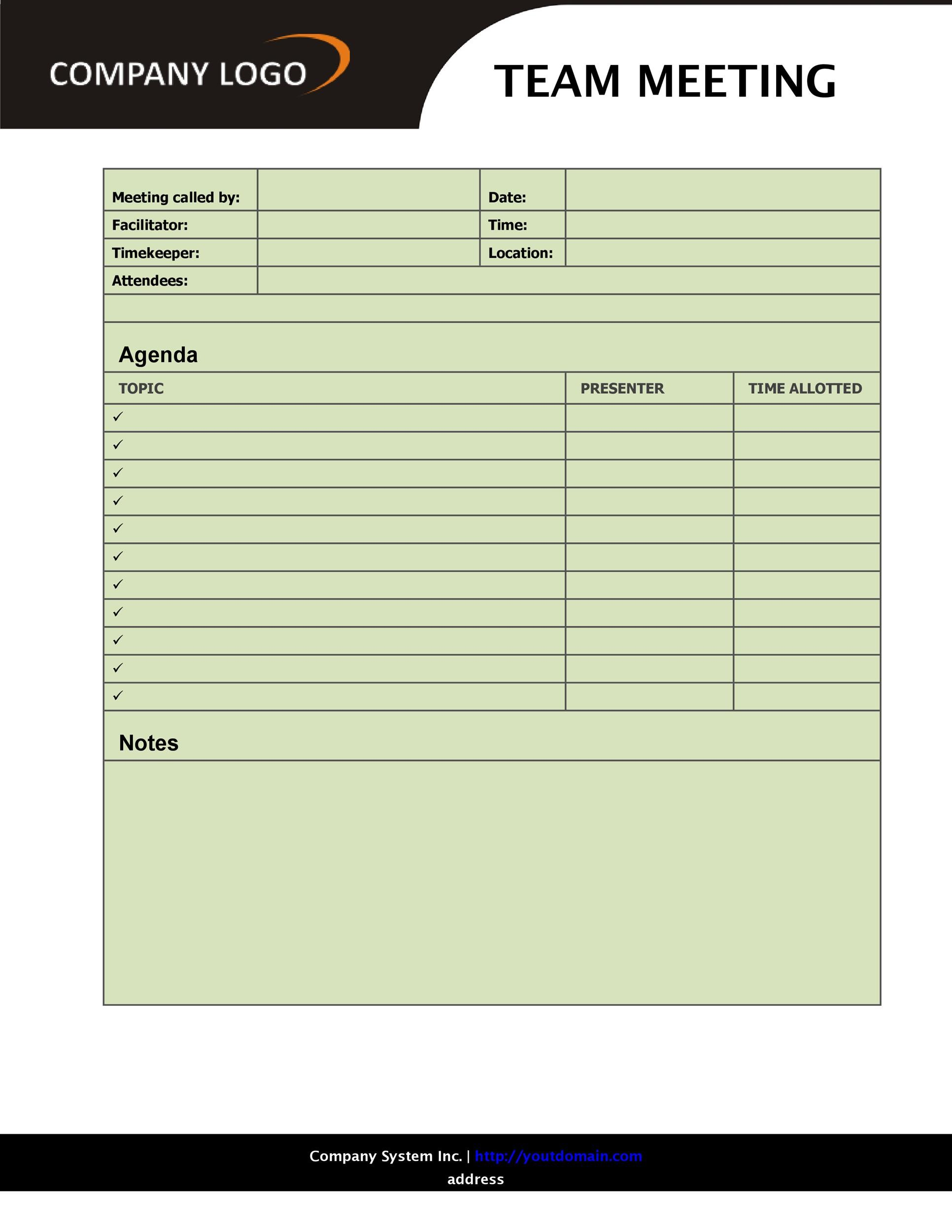 Printable Meeting Agenda Template 32  Blank Meeting Agenda Template