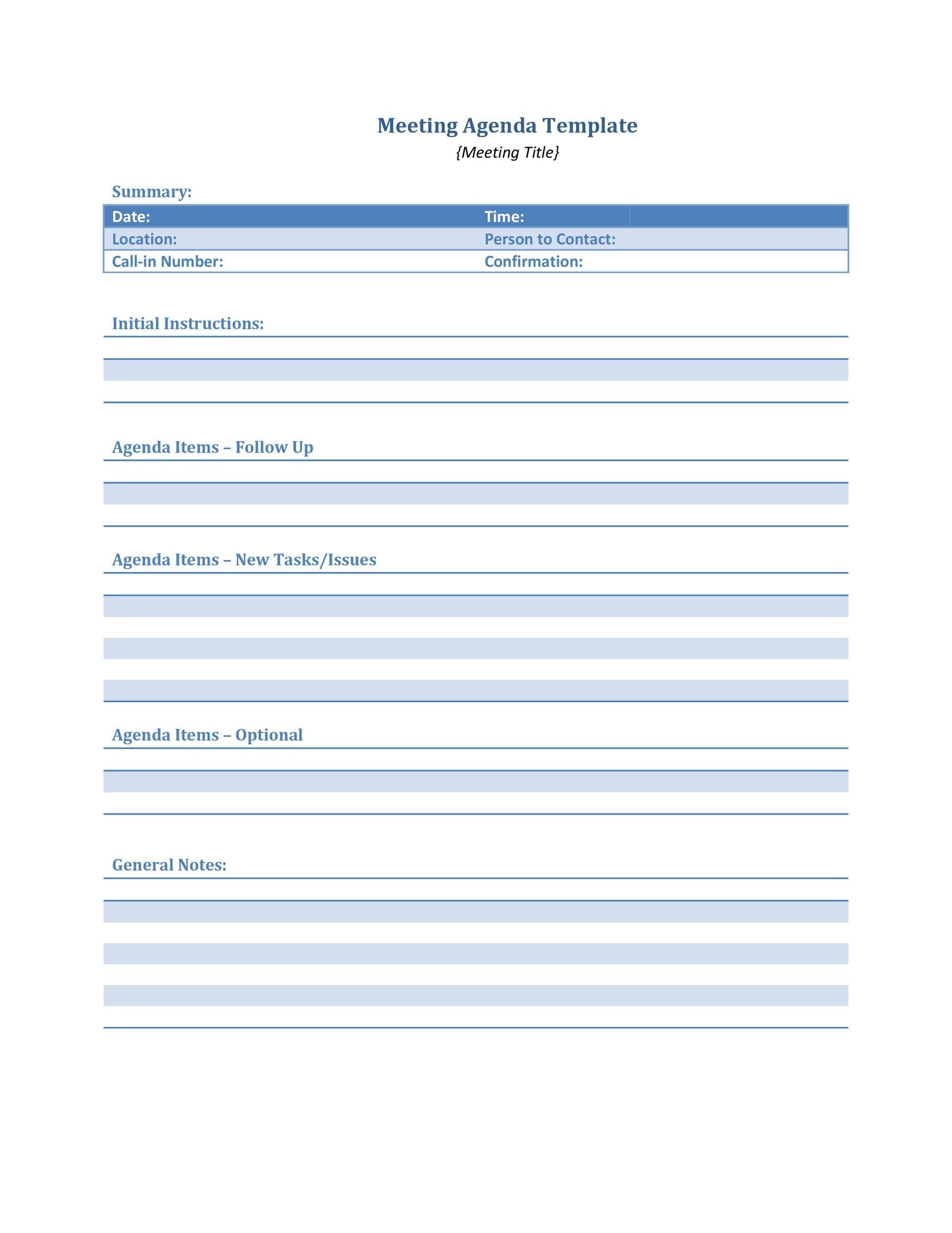 46 Effective Meeting Agenda Templates Template Lab – Agenda Template for a Meeting