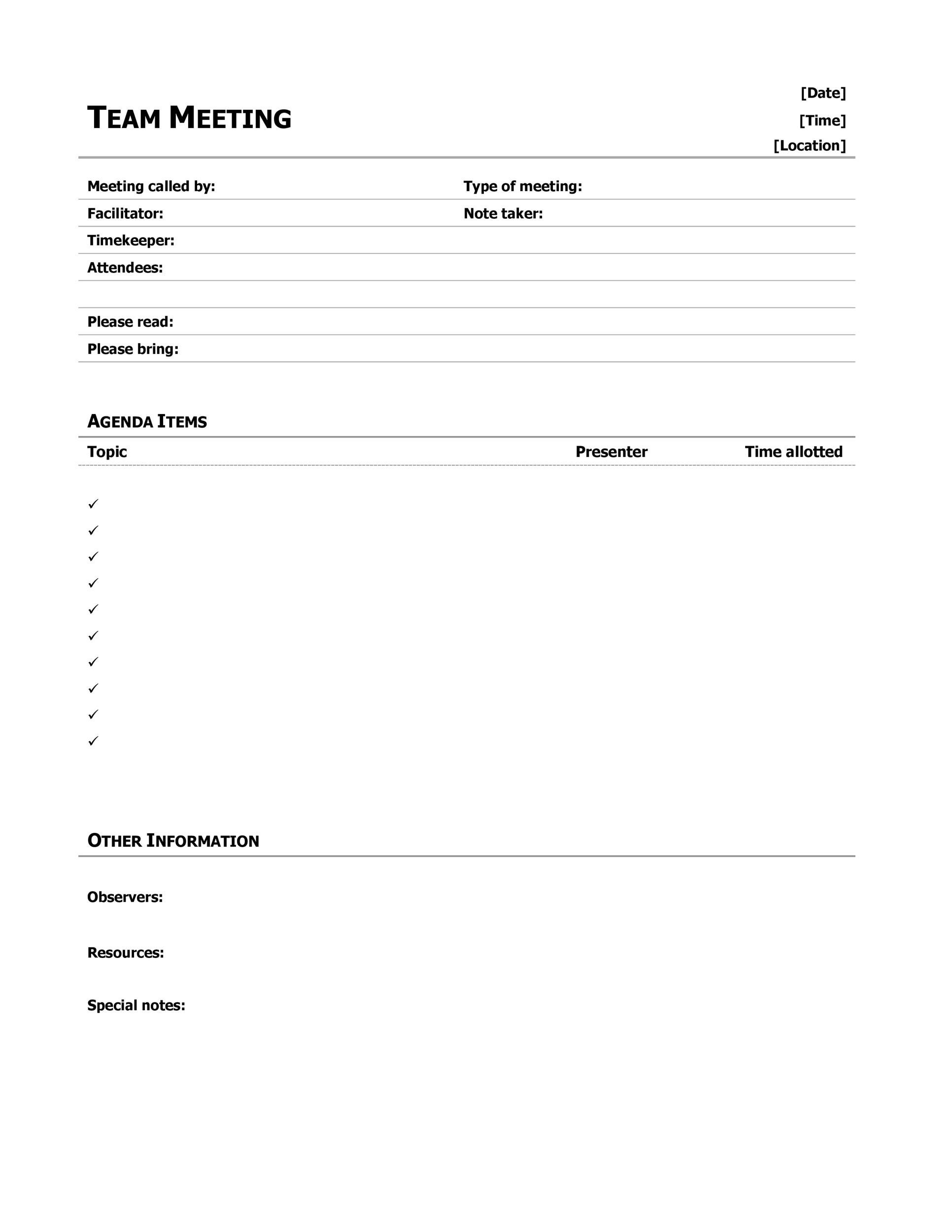 46 Effective Meeting Agenda Templates Template Lab – Agenda for a Meeting Template
