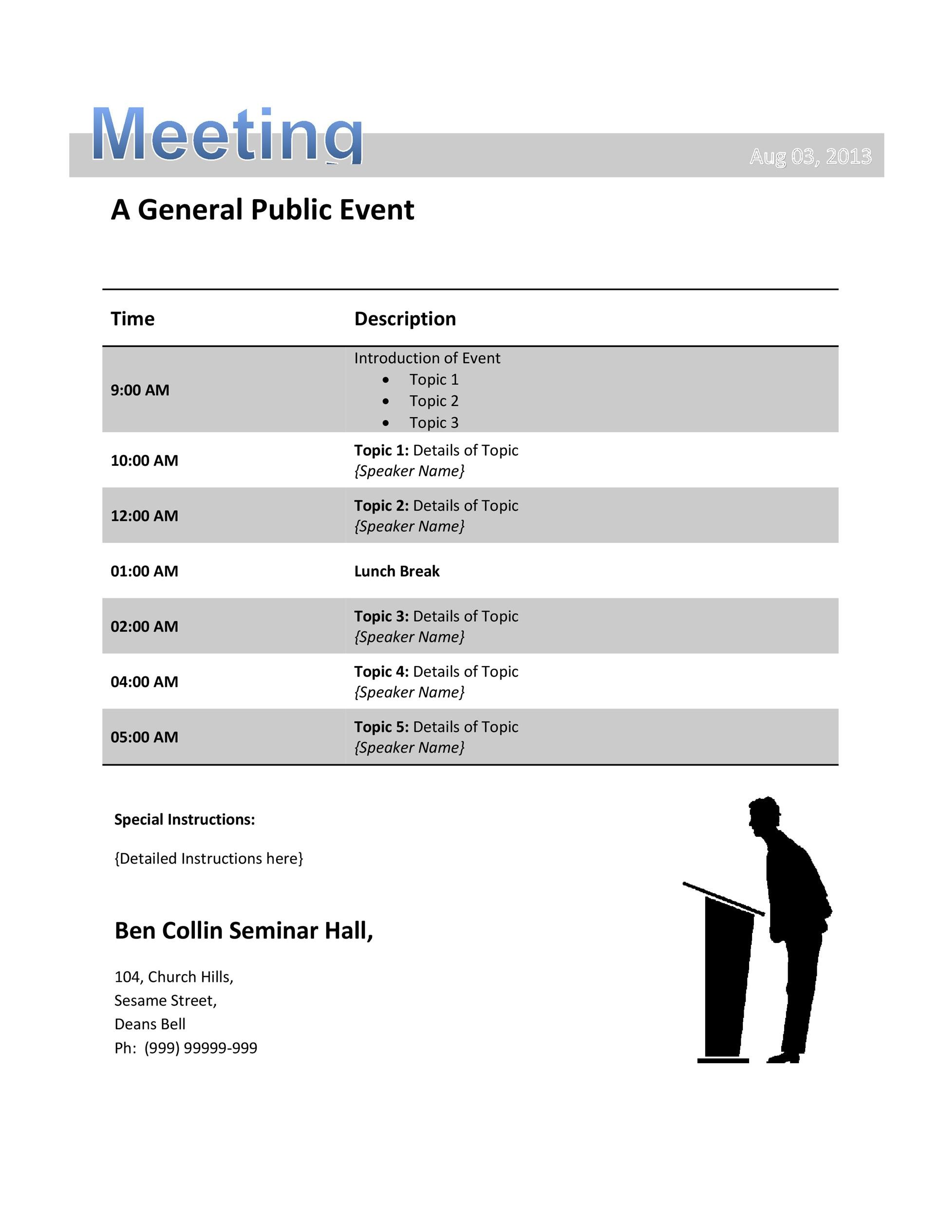 Free Meeting Agenda Template 36