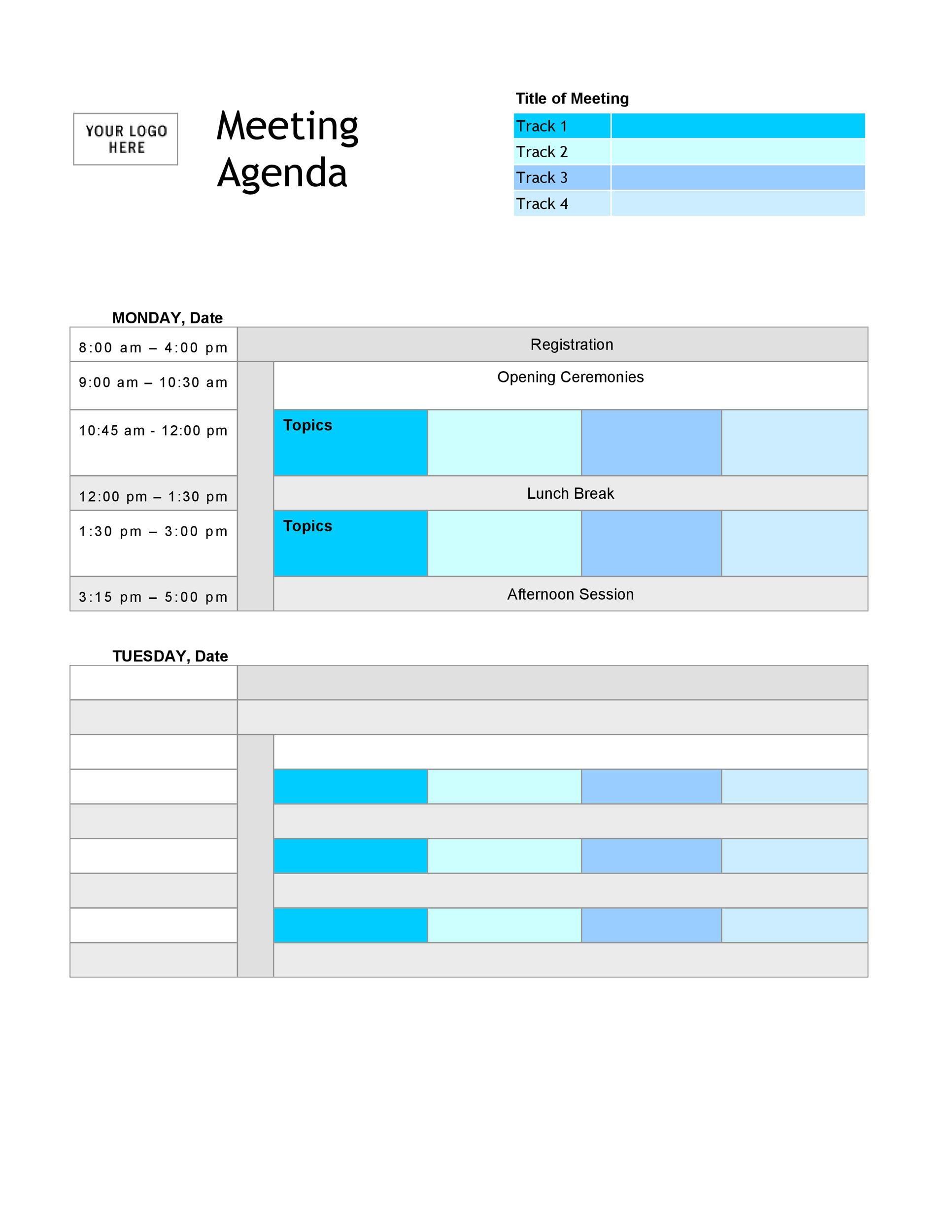 Free Meeting Agenda Template 40