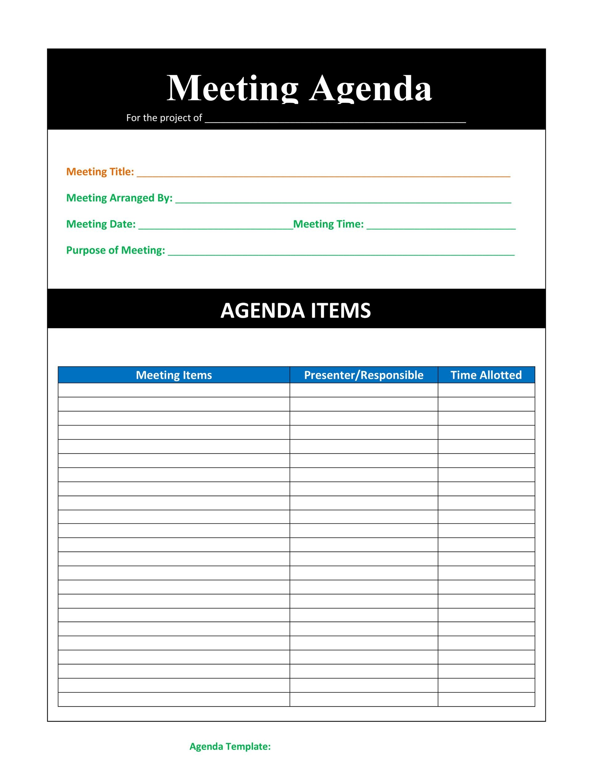 High Quality Printable Meeting Agenda Template 41 Throughout Agenda Creator