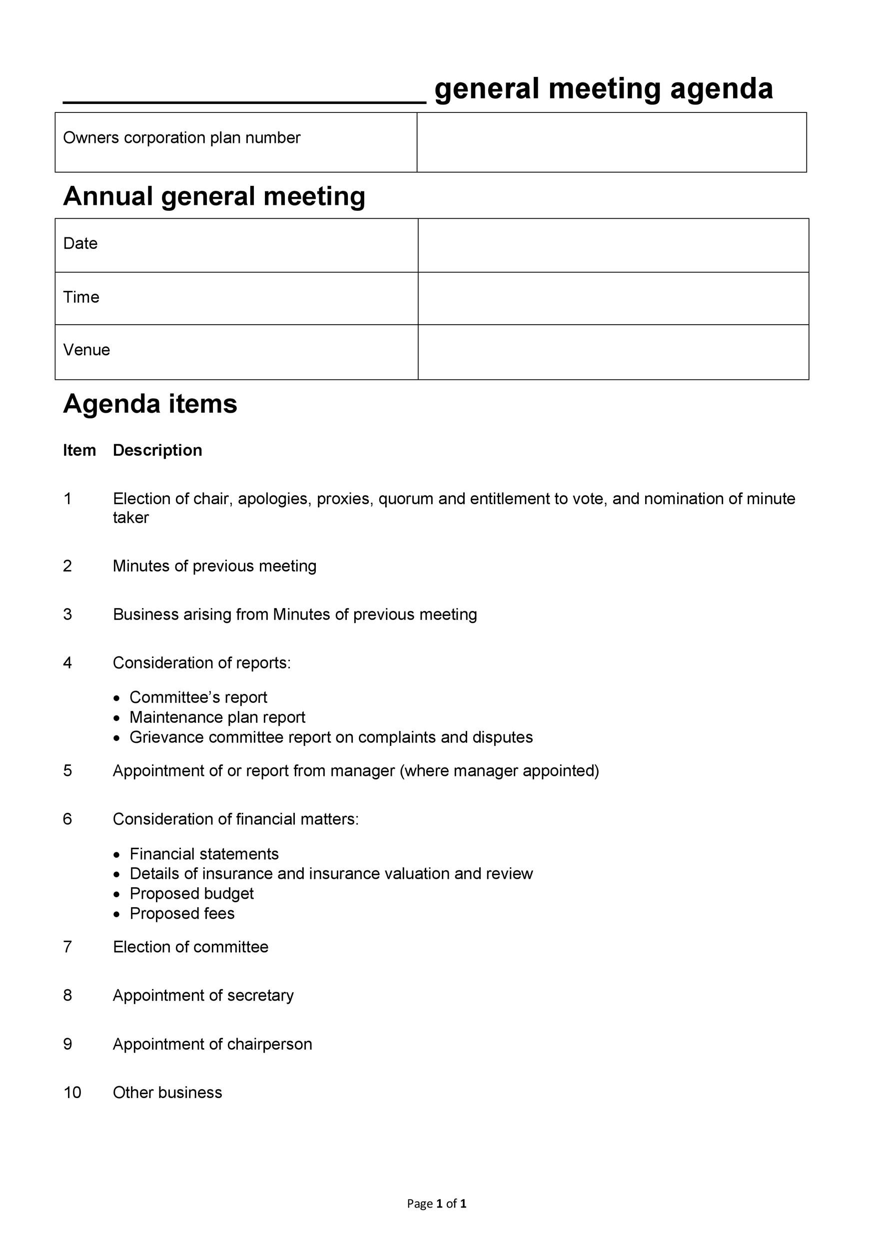 Printable Meeting Agenda Template 43