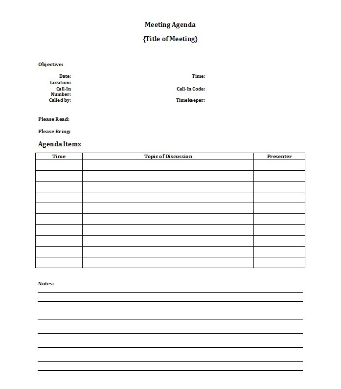 Printable Meeting Agenda Template 44  Professional Meeting Agenda Template