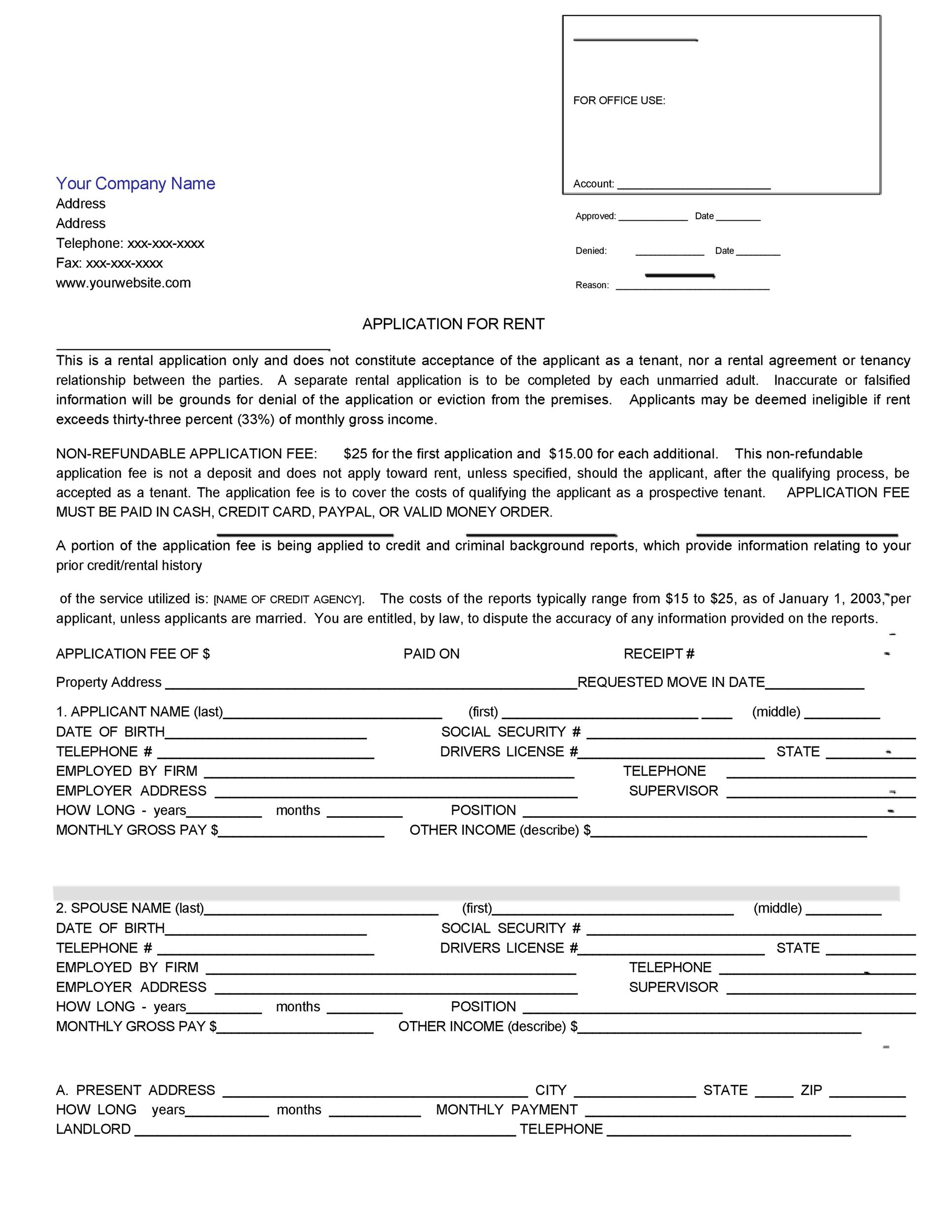 Printable Rental Application Template 02  Blank Lease Agreement Free