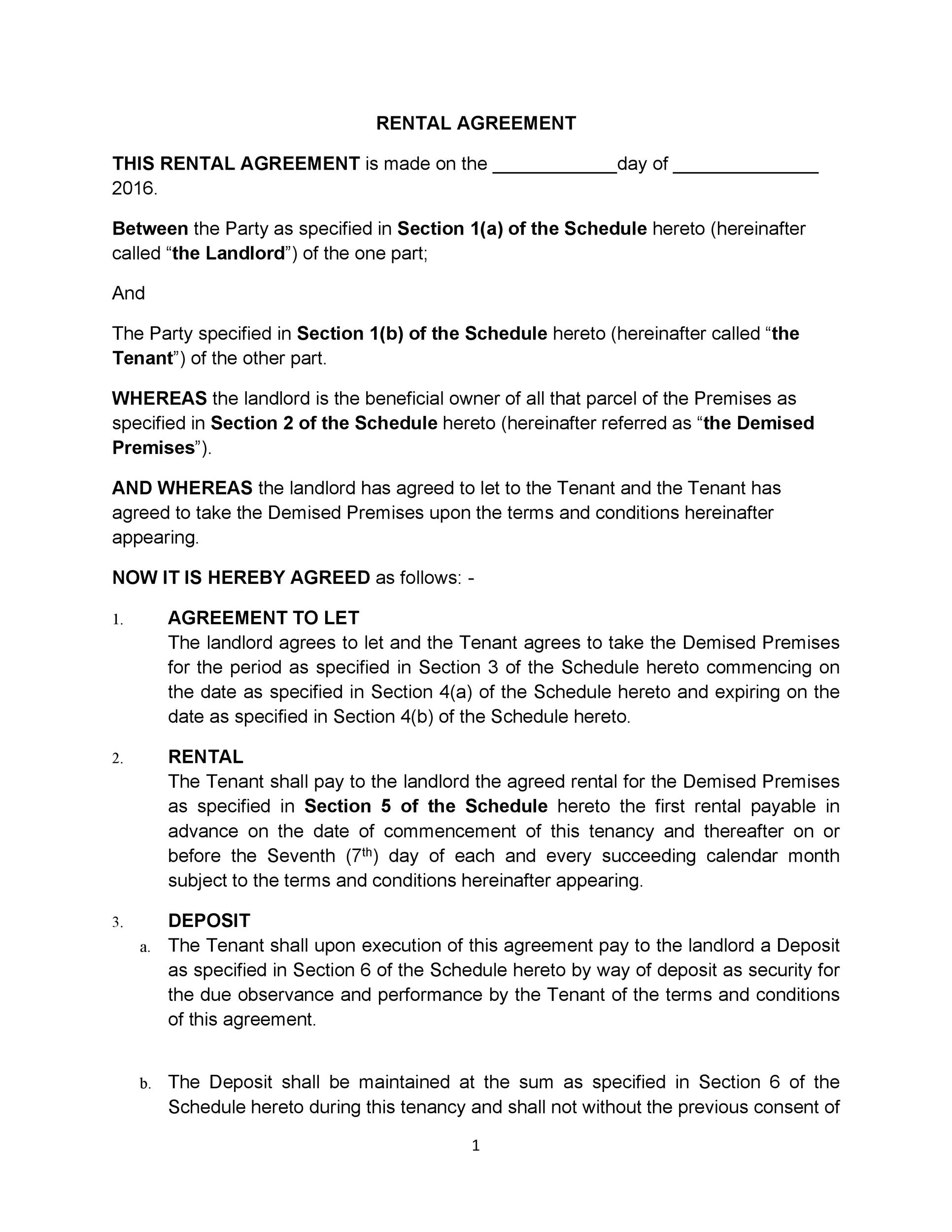 Rental Agreement Letter Template. Example Of Lease Agreement