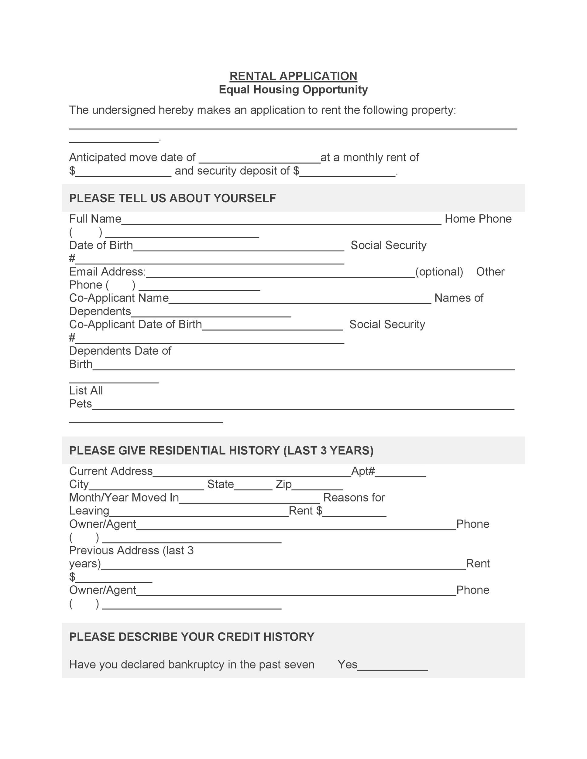 Rental Application Forms  Lease Agreement Templates