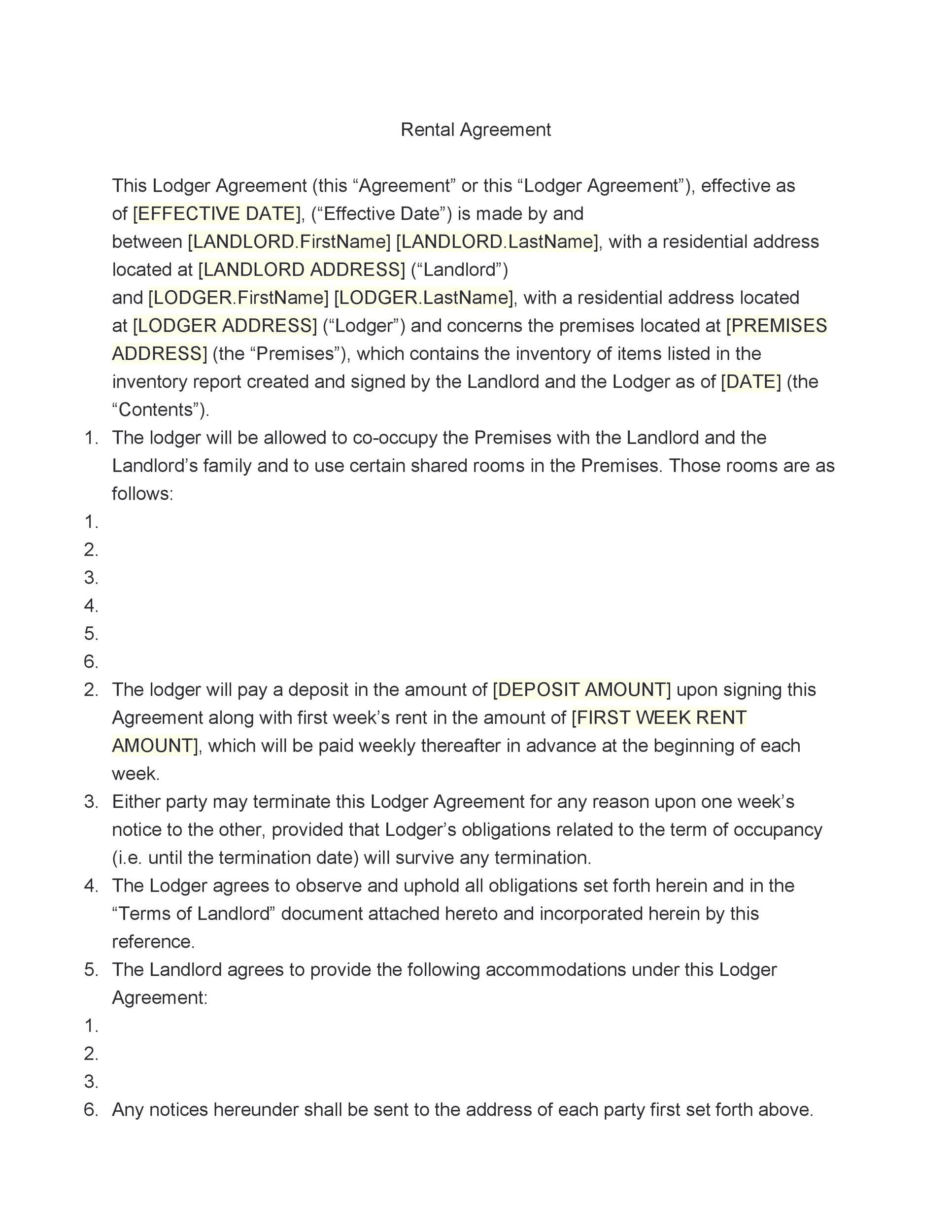 Rental Agreement Template. Room Rental Agreement Form Rental