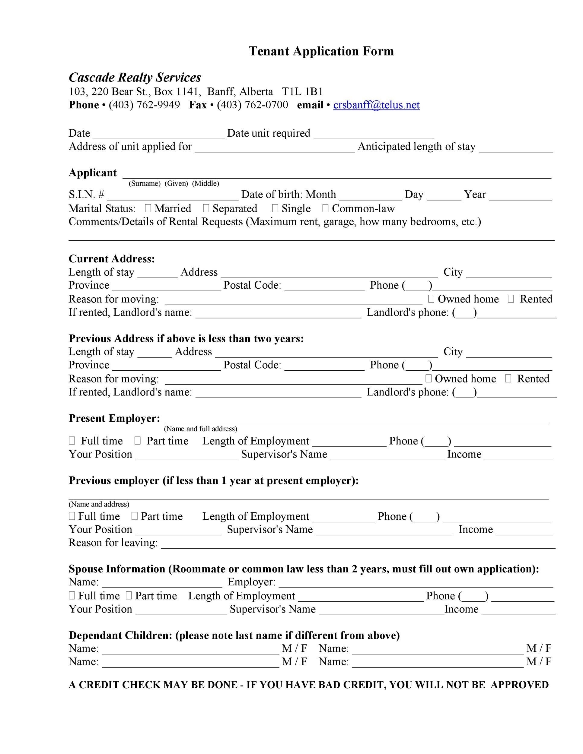 tenant application form samples - Sample Application Forms