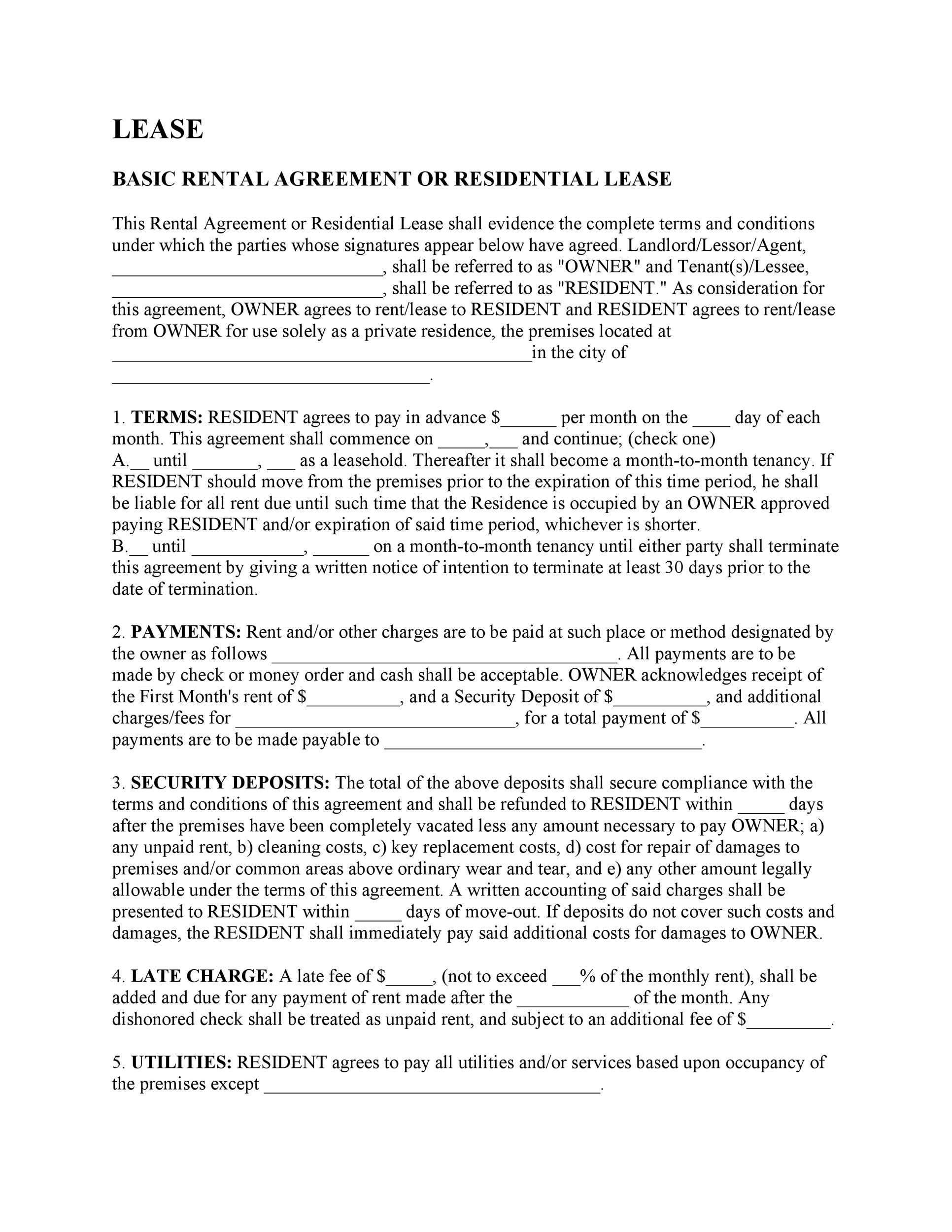42 Rental Application Forms Lease Agreement Templates – Free Simple Rental Agreement
