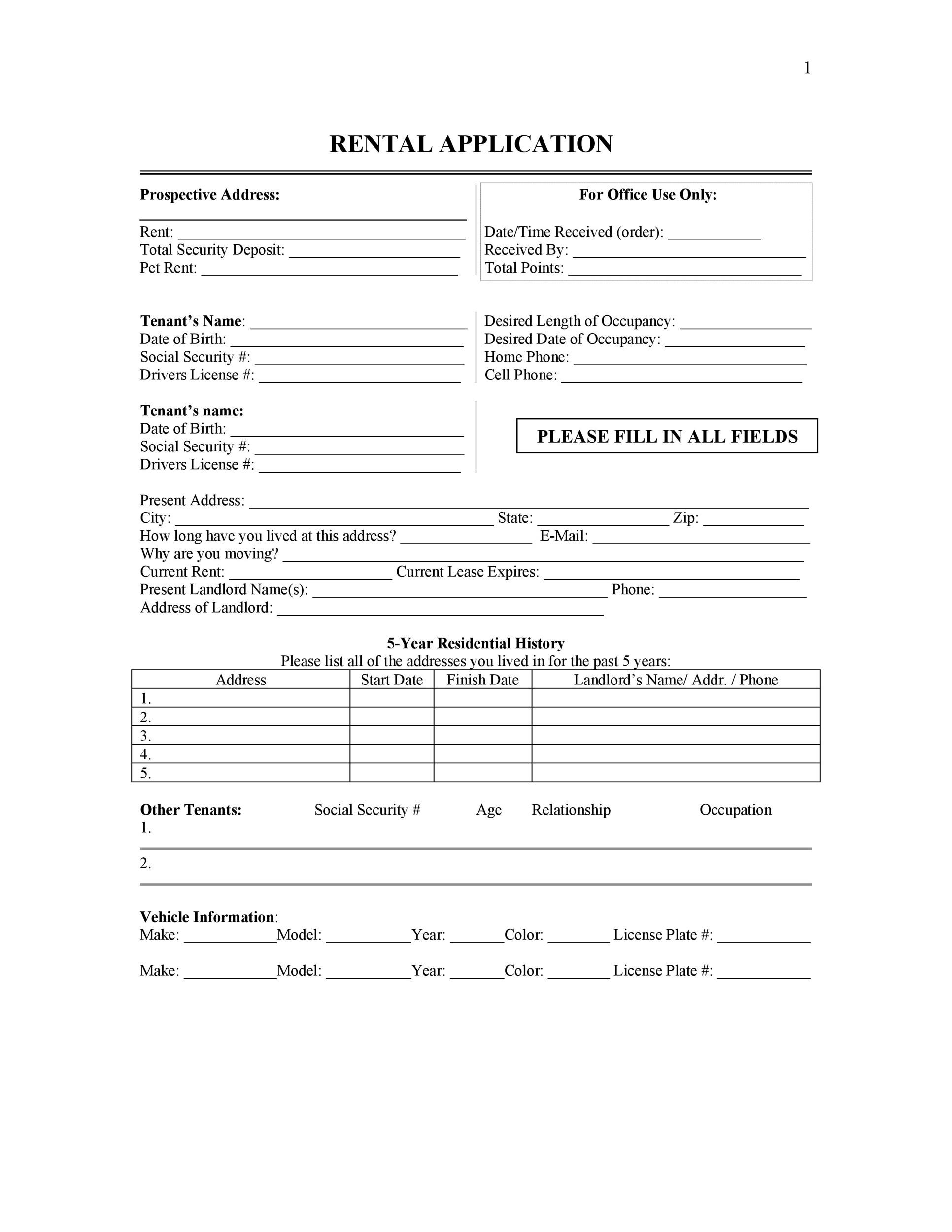 tenant information form template