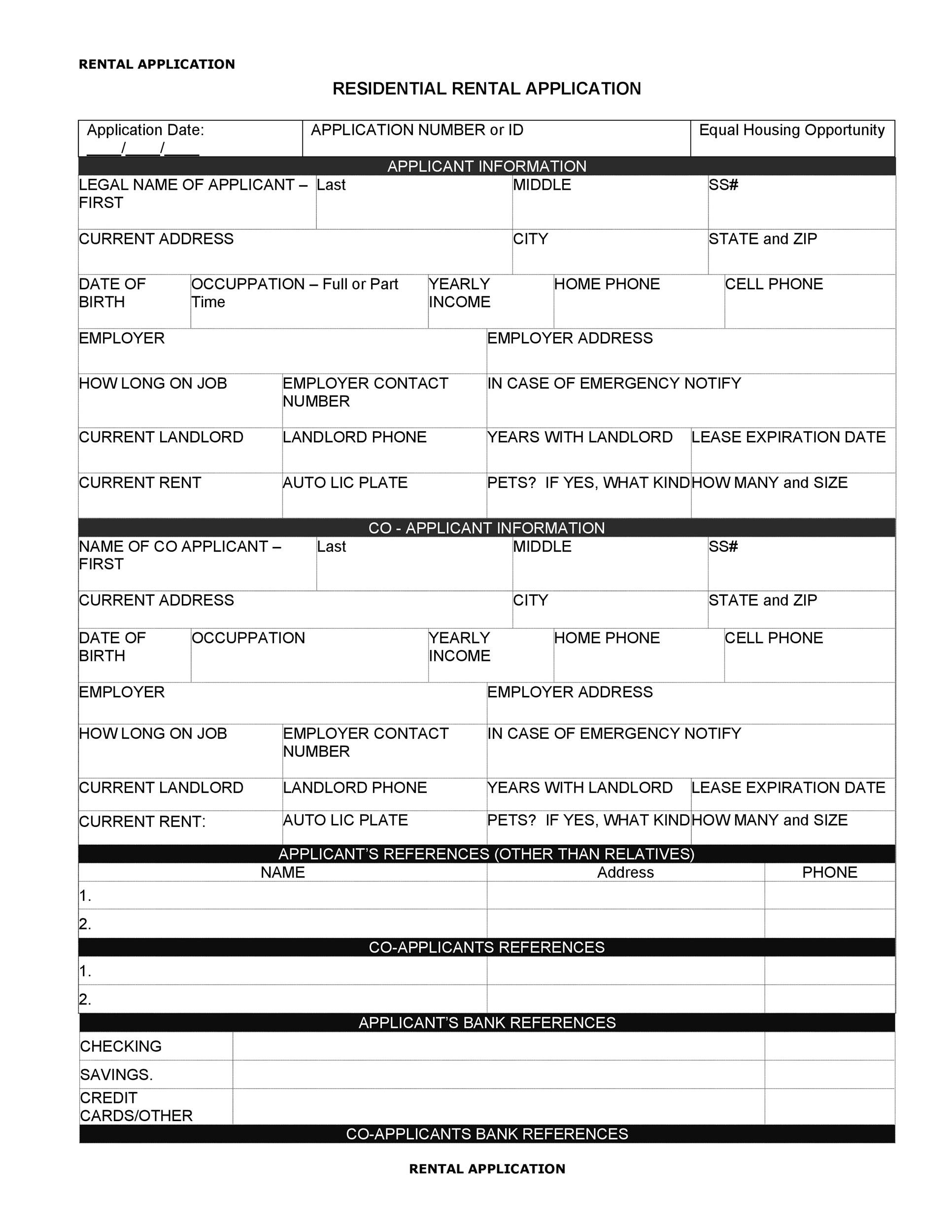 42 Rental Application Forms & Lease Agreement Templates