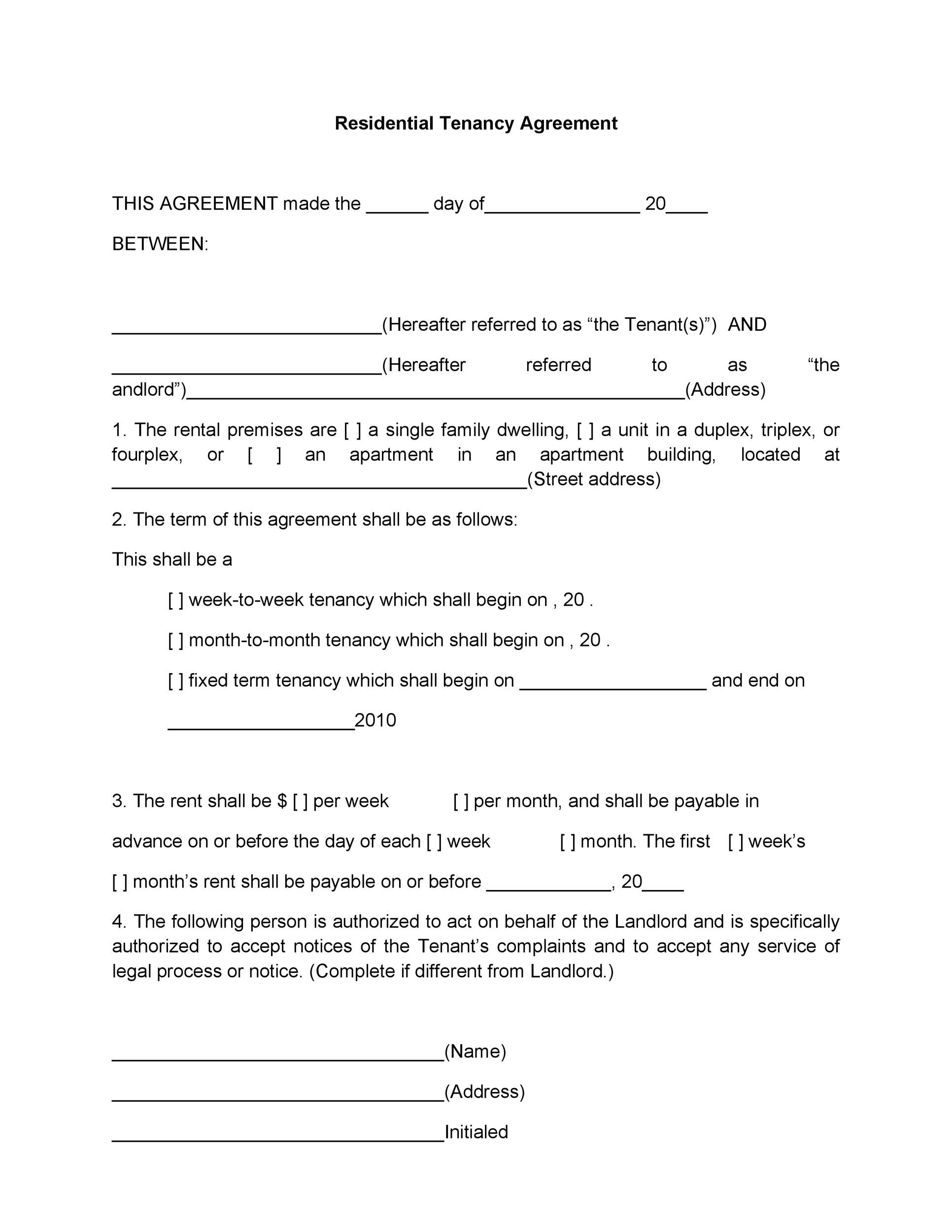 Landlord Lease Agreement Tempalte Printable Sample Simple Room