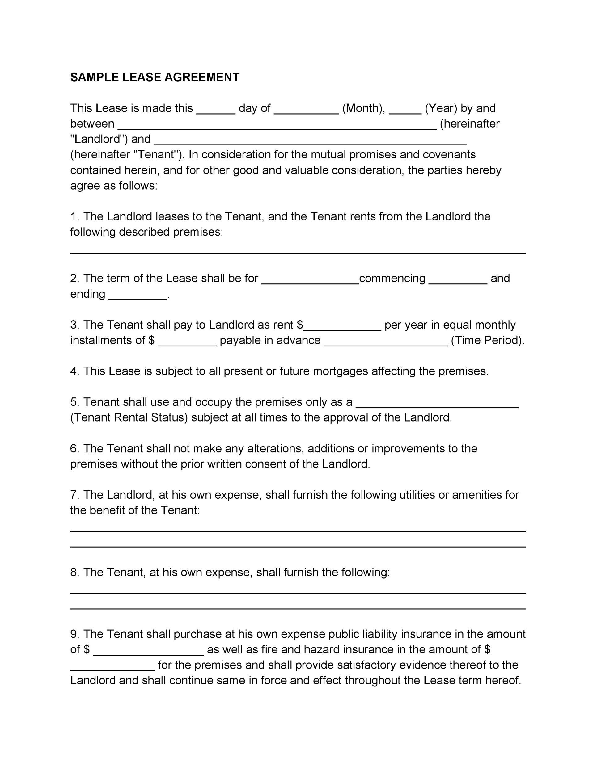Rent To Own Contract Sample Printable Sample Residential Lease
