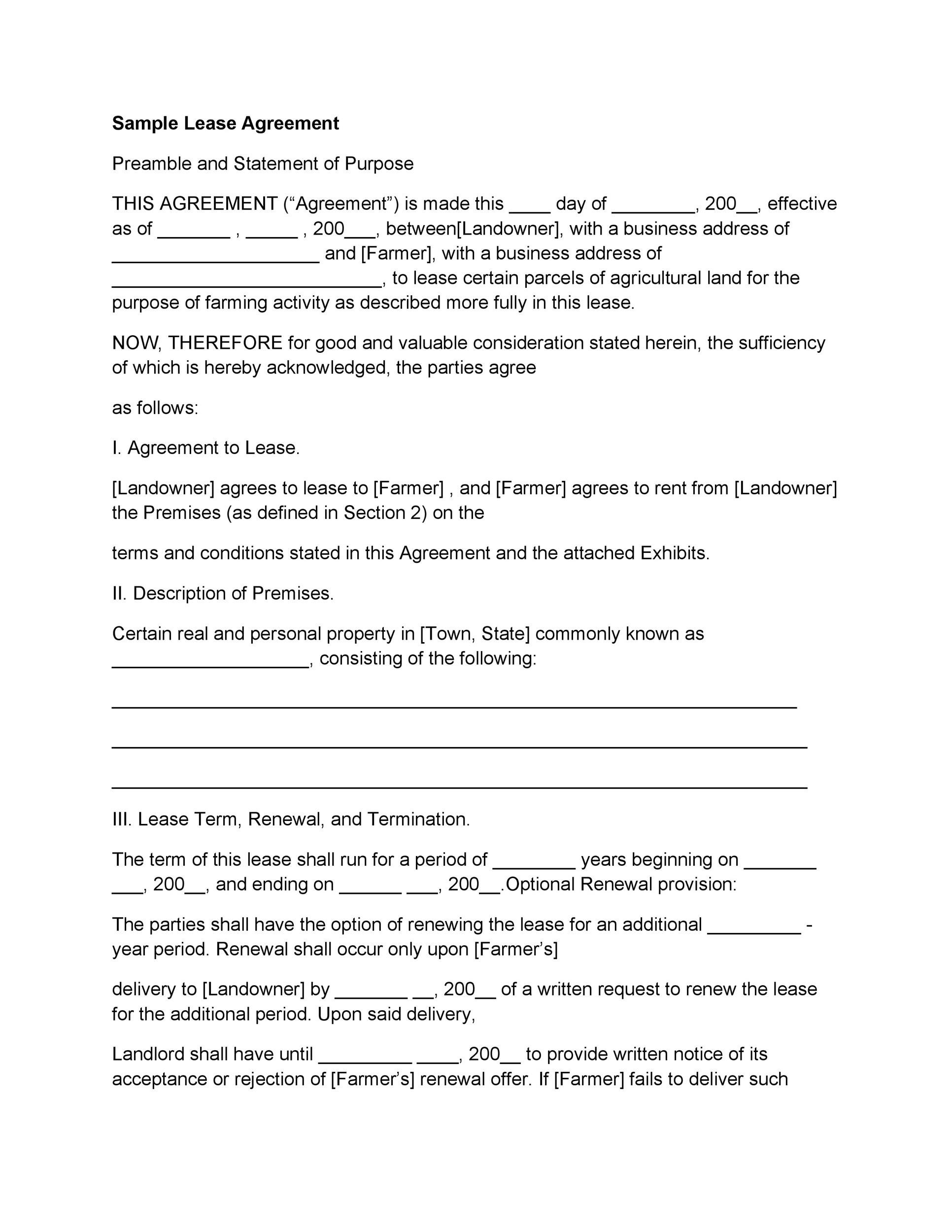 Printable Rental Application Template 33  Format Of Lease Agreement