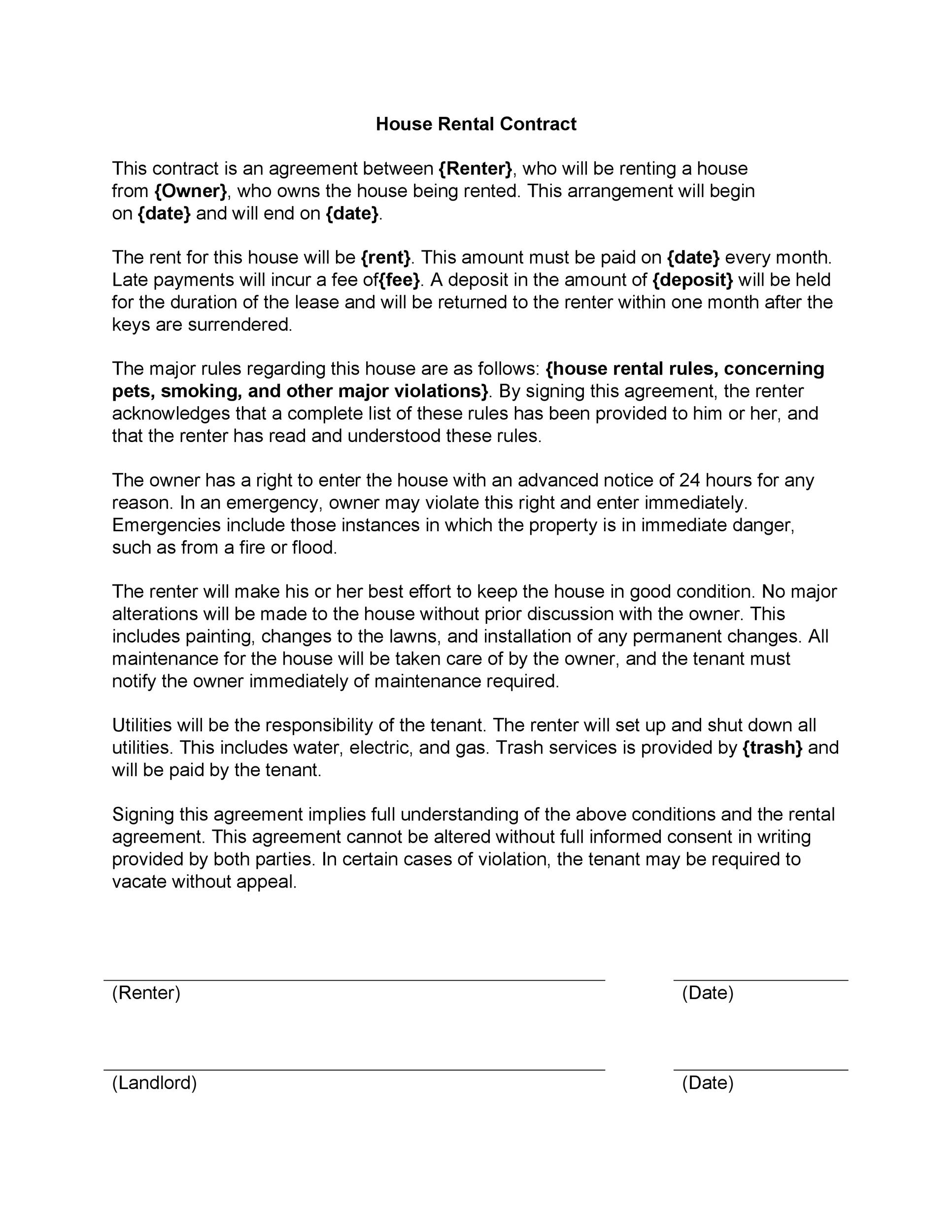 Blank Rental Agreements Printable Sample Roommate Agreement Form