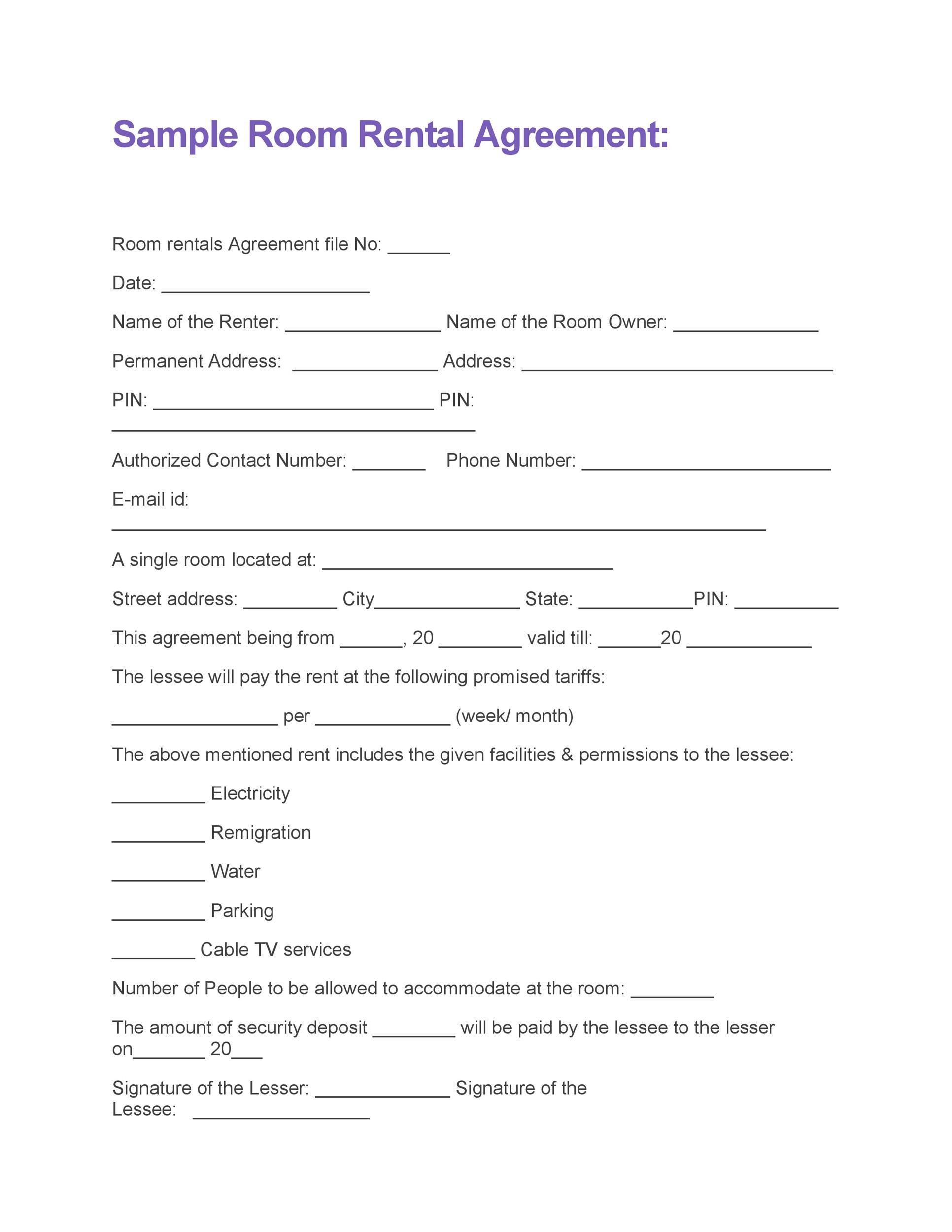 Room Rental Contract. Printable Sample Rental Lease Agreement