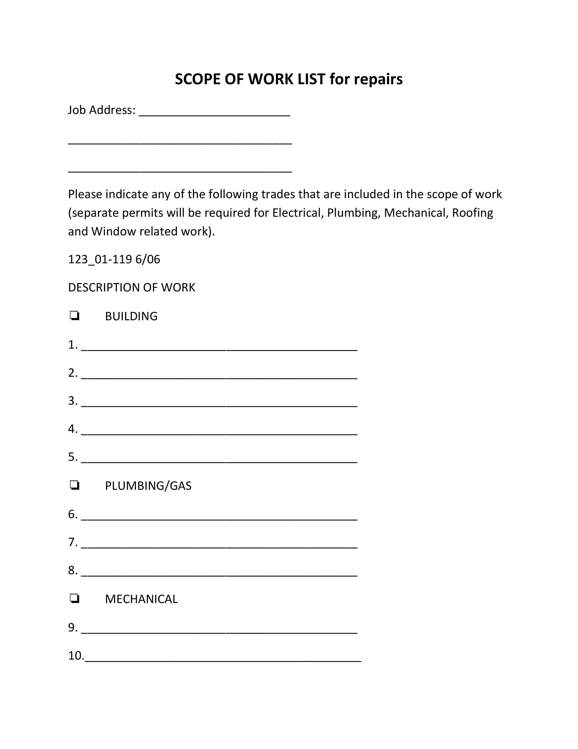 scope of work document template