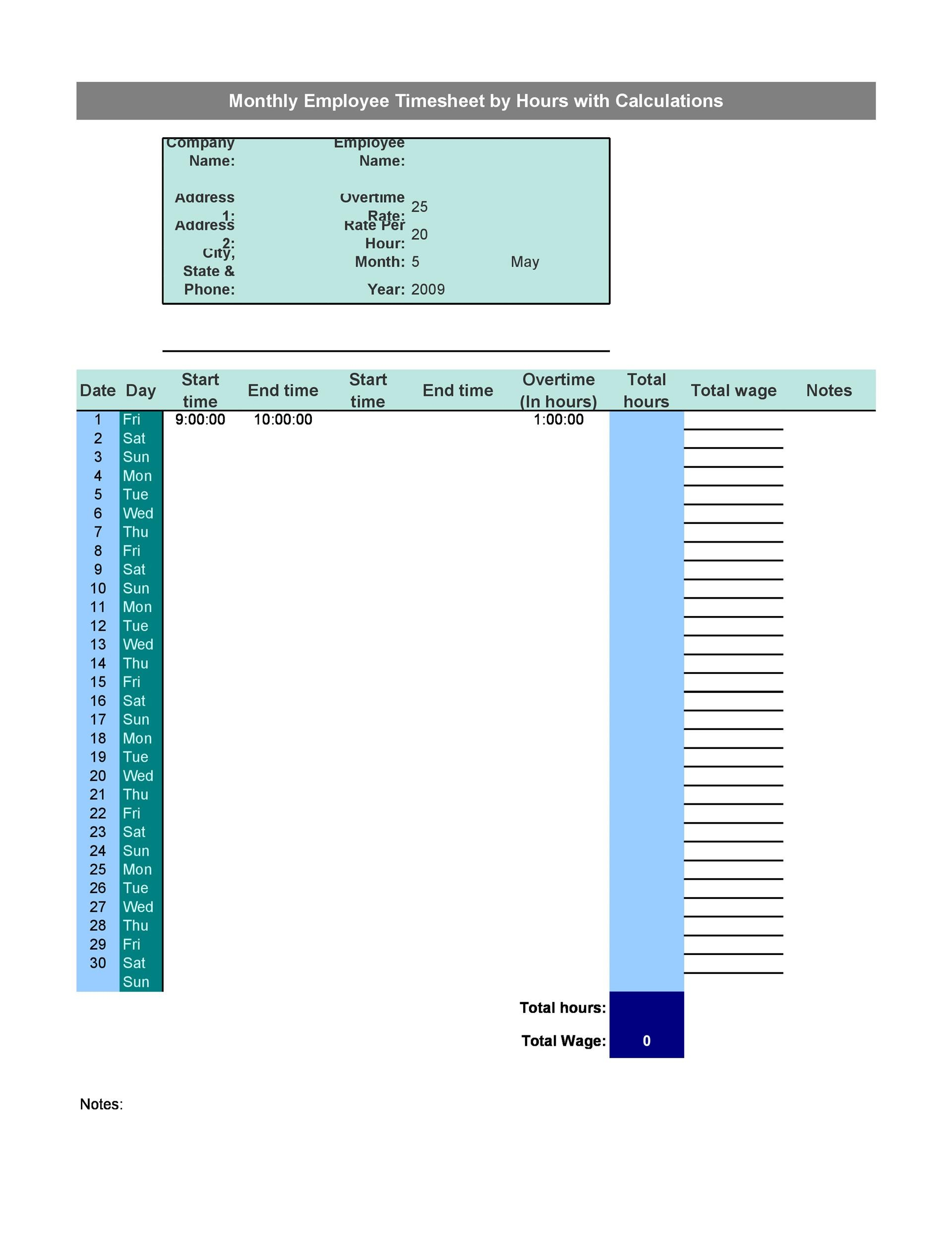 Printable Time Sheet Template 02