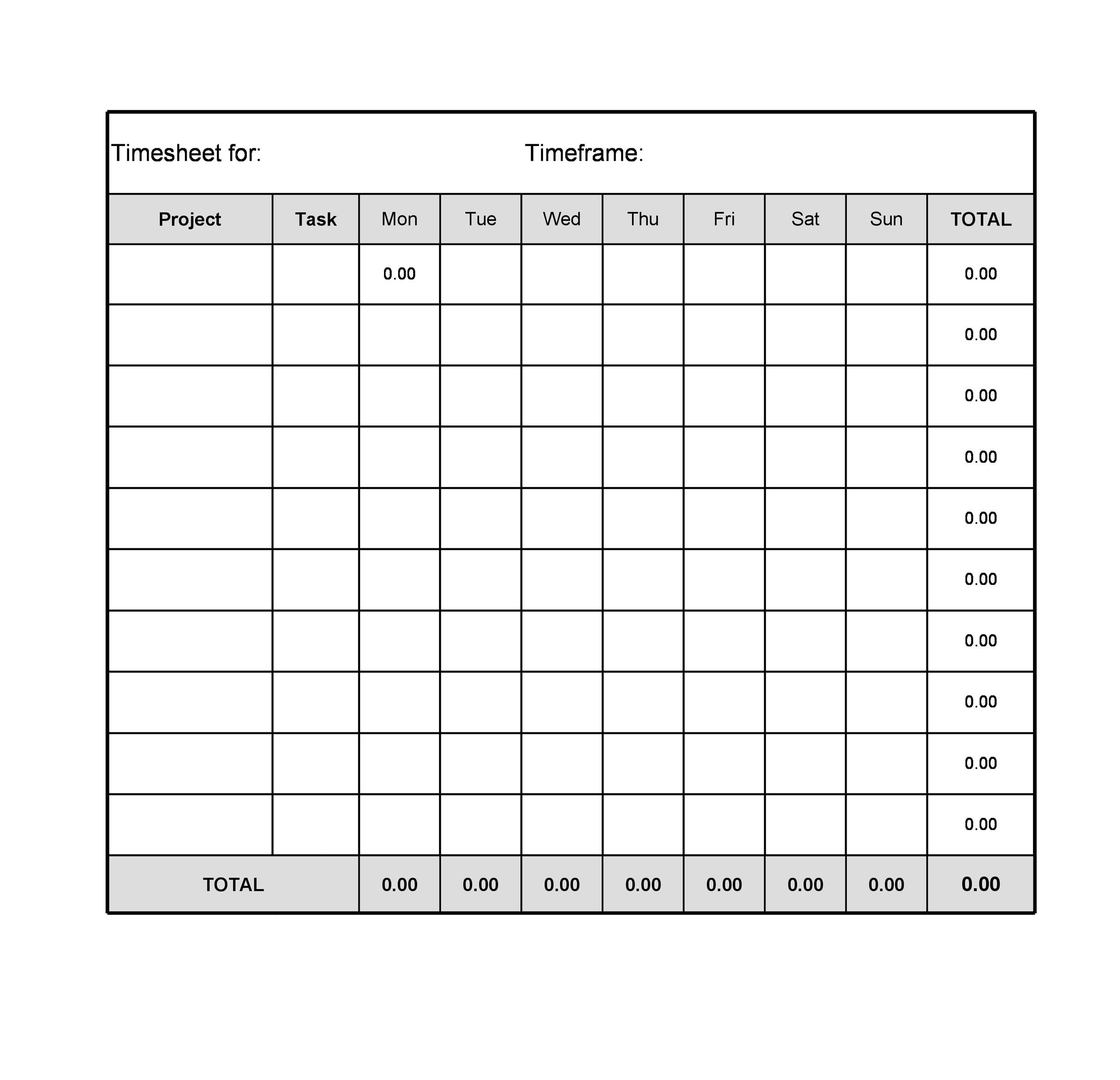 Printable Time Sheet Template 05  Free Printable Timesheet Template