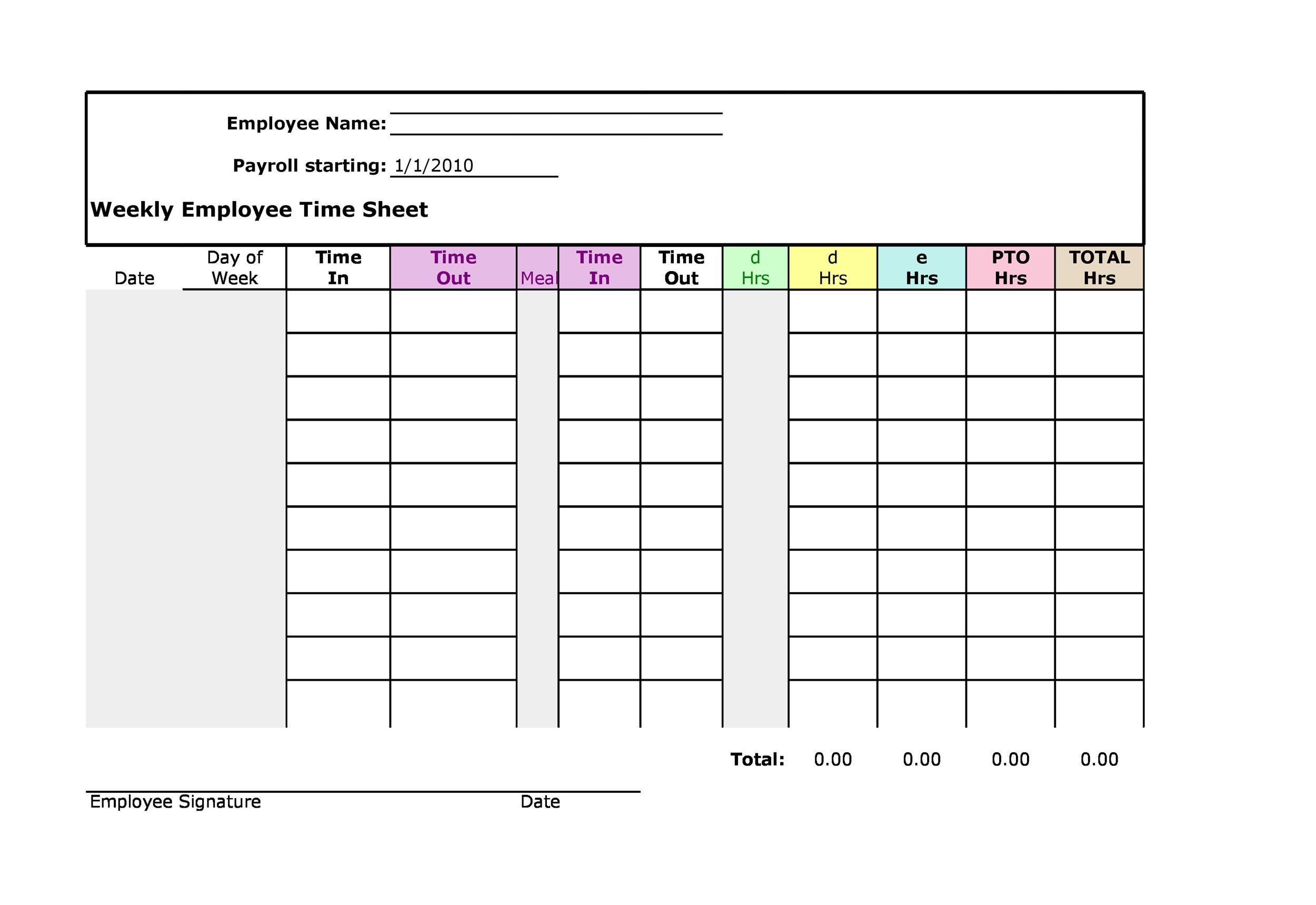 Printable Time Sheet Template 11  Free Printable Timesheet Template