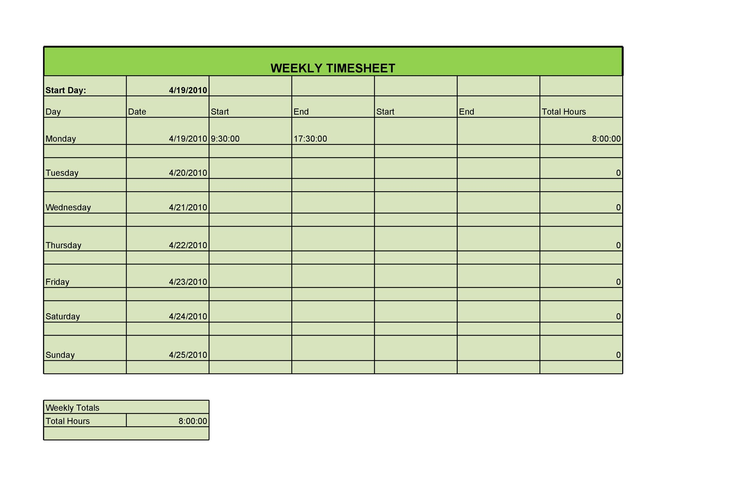 40 Free Timesheet Time Card Templates Template Lab