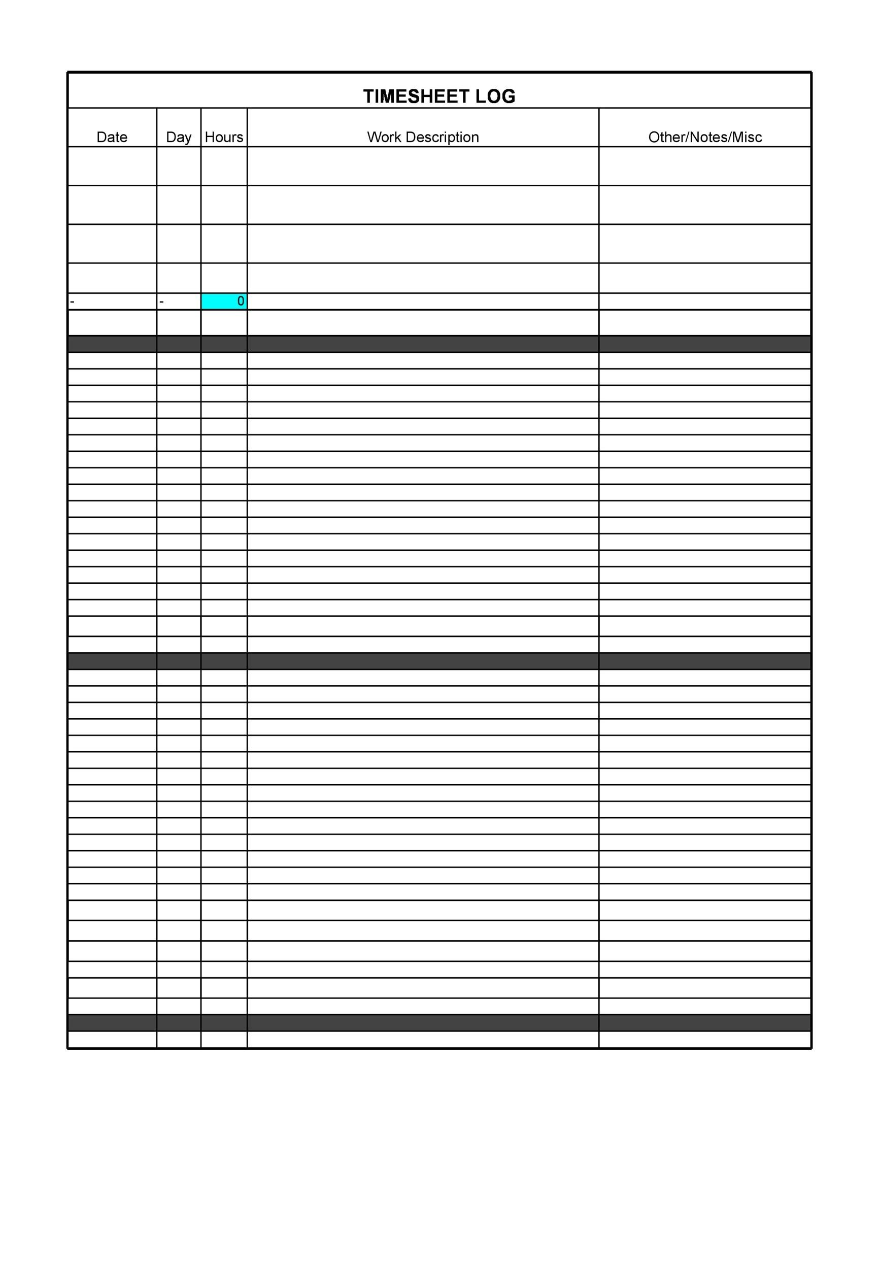 printable time sheet template 17