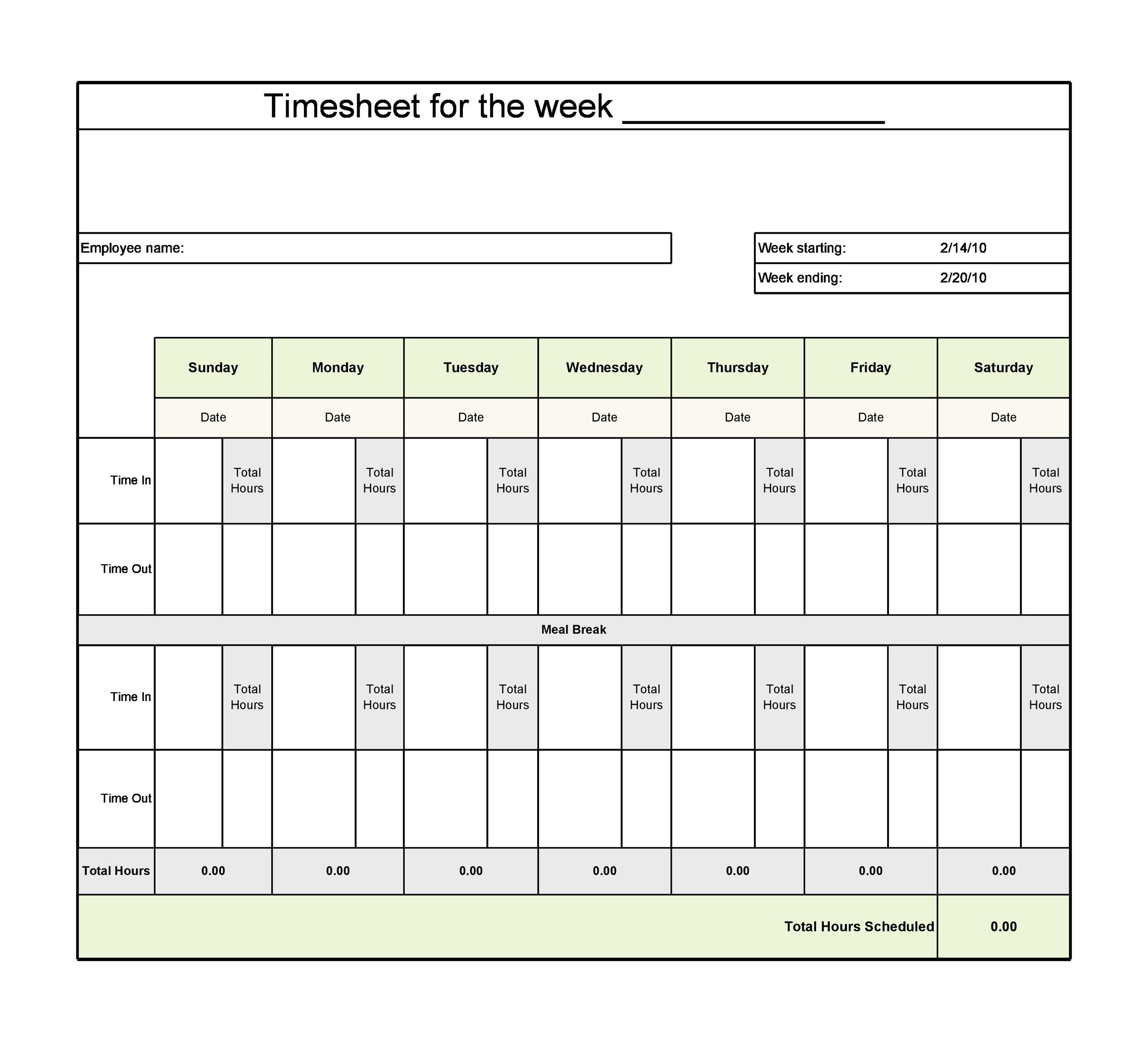 Printable Time Sheet Template 22  Free Printable Timesheet Template