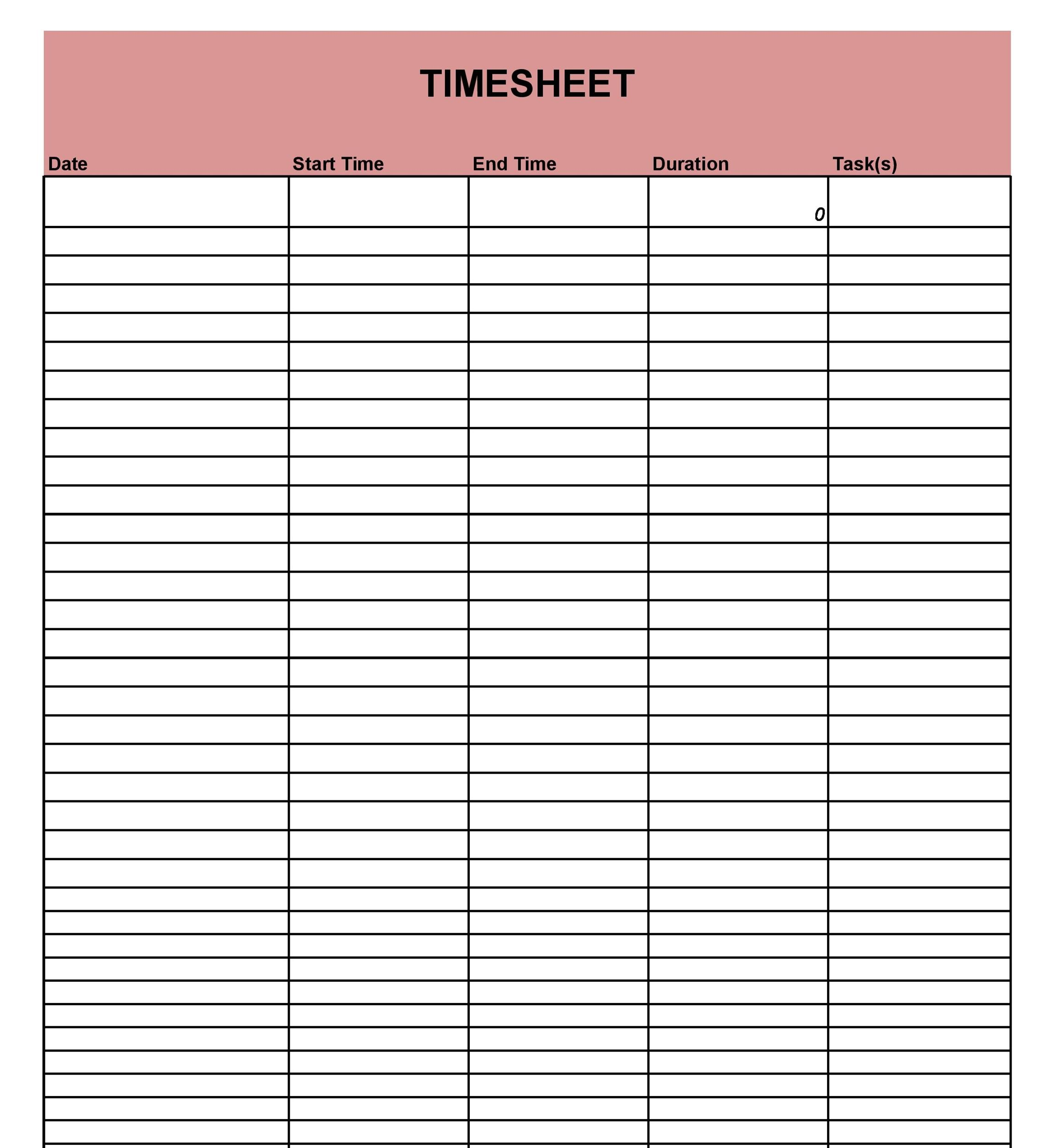 Free Time sheet Template 25