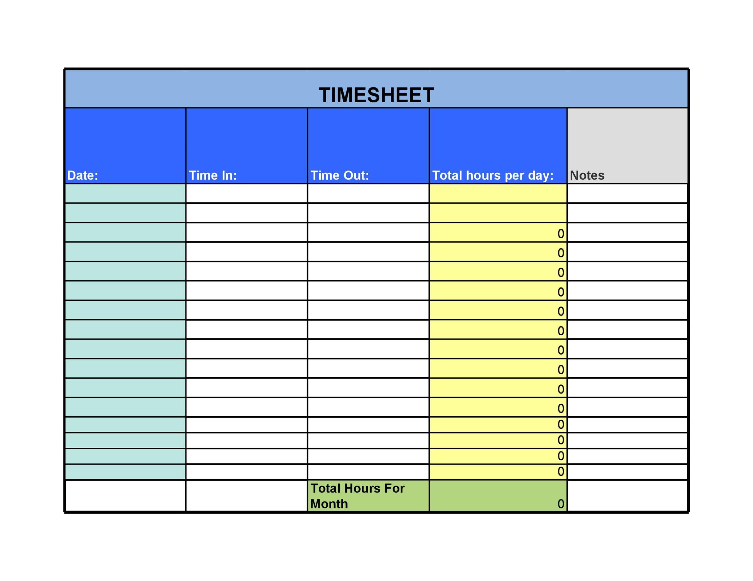 Free Time sheet Template 26