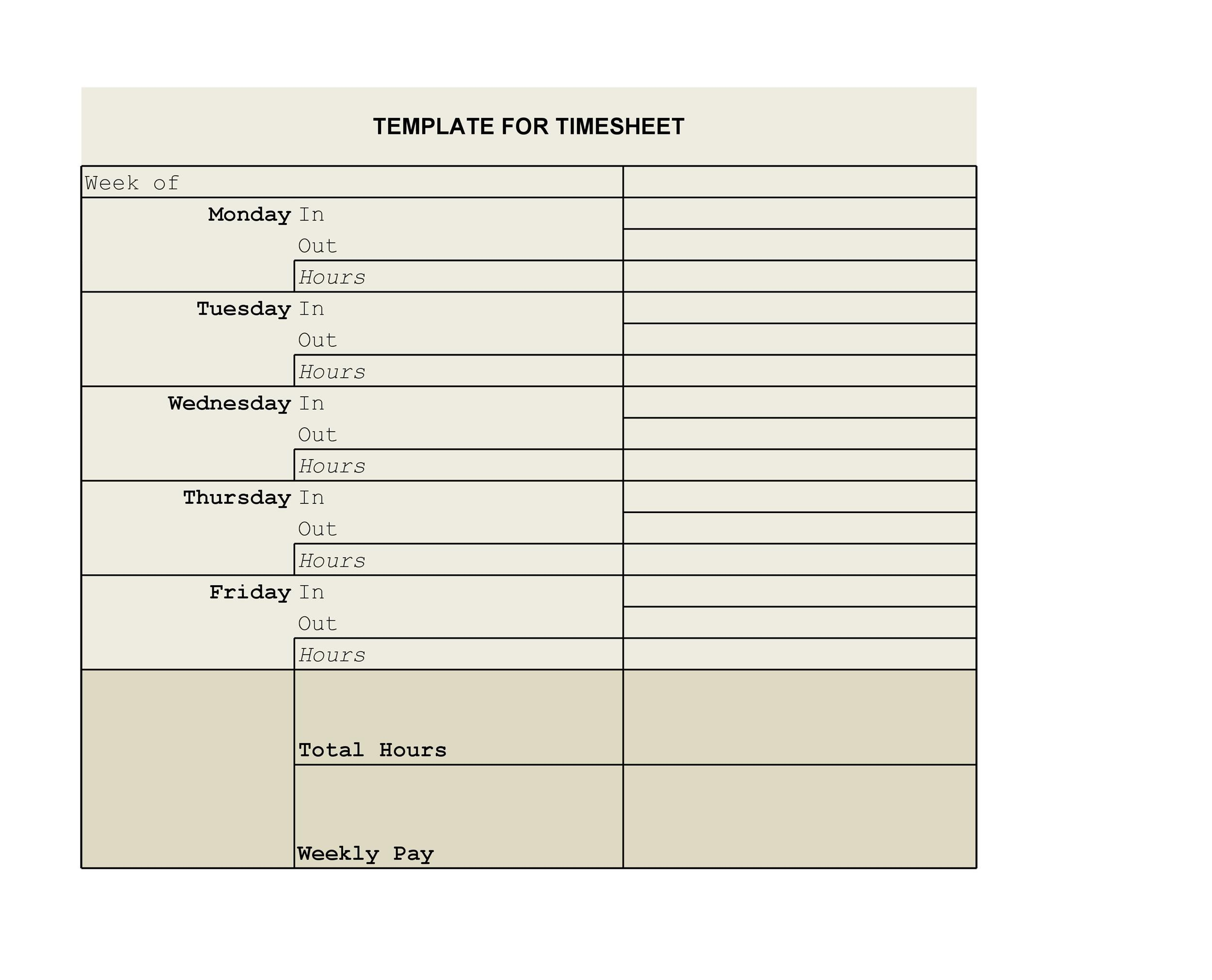 Free Time sheet Template 28