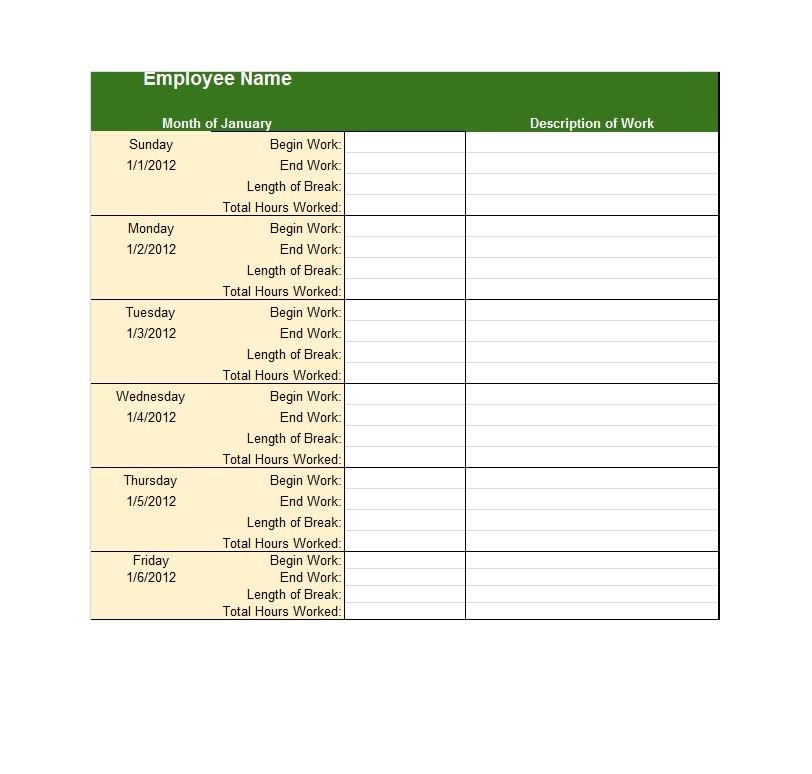 40 free timesheet    time card templates