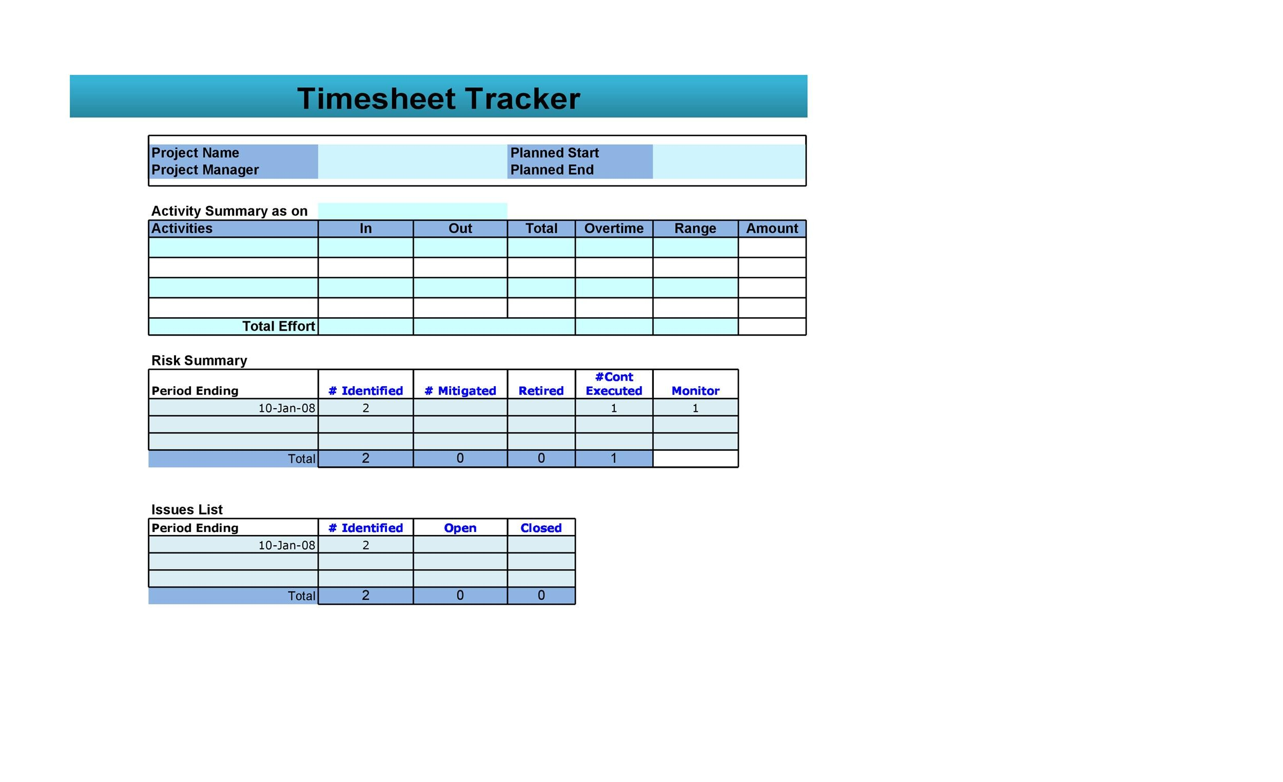 Free Time sheet Template 36